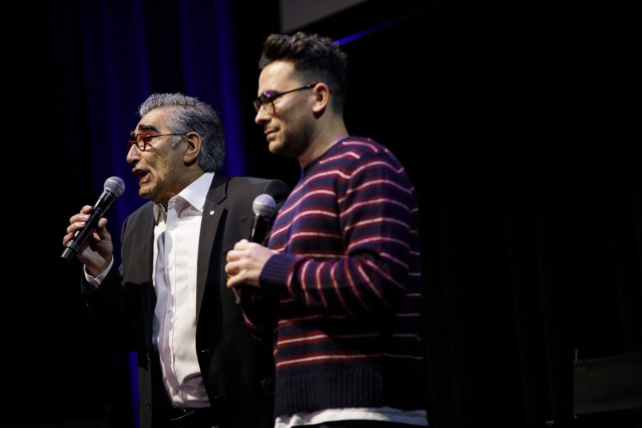 Actors Eugene Levy and Dan Levy speak during Schitt's Creek Live at the theatre at the Ace Hotel on
