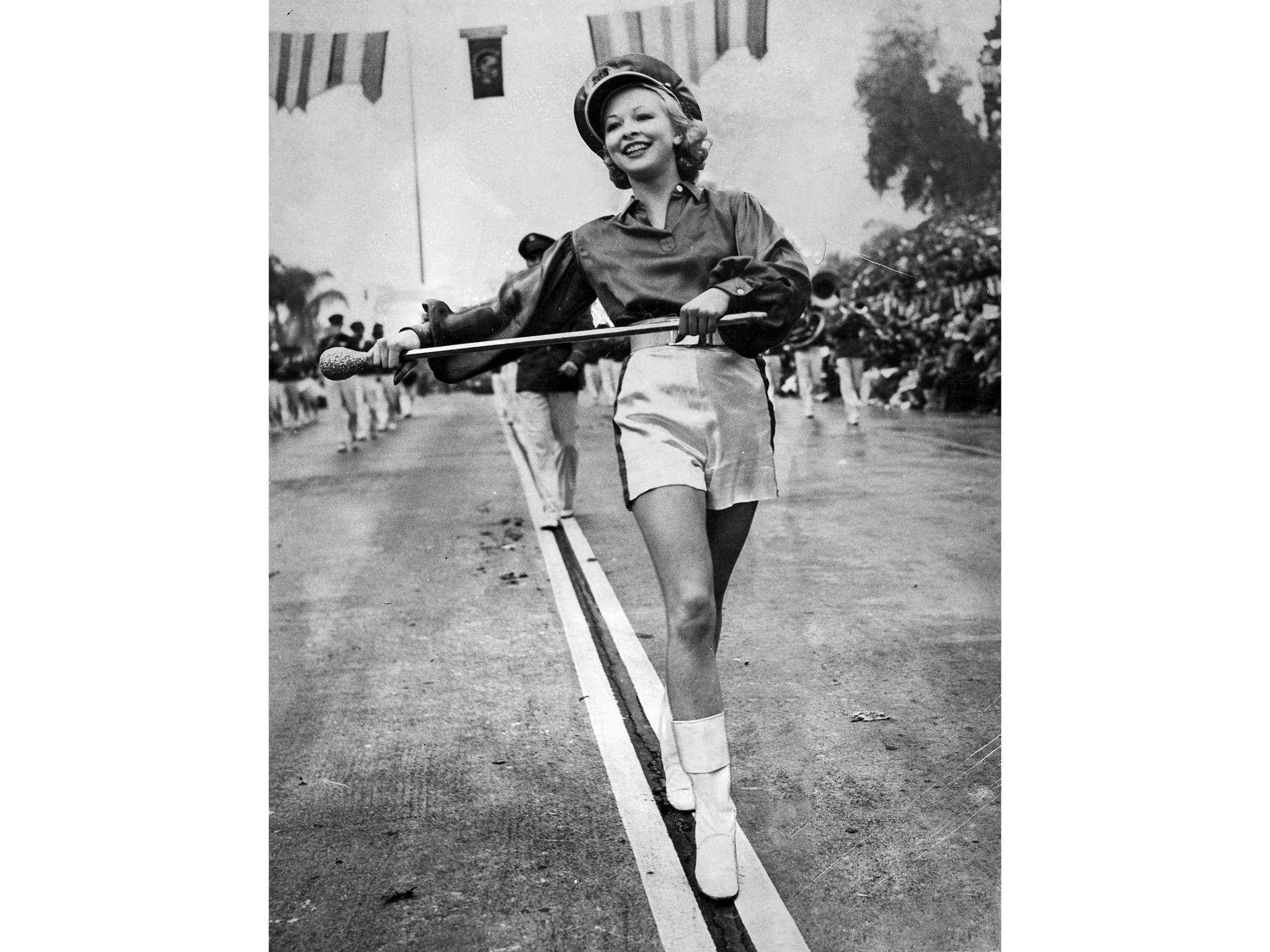 Jan. 1, 1940: Majorette marches with band in Tournament of Roses parade in photo published in the Ti