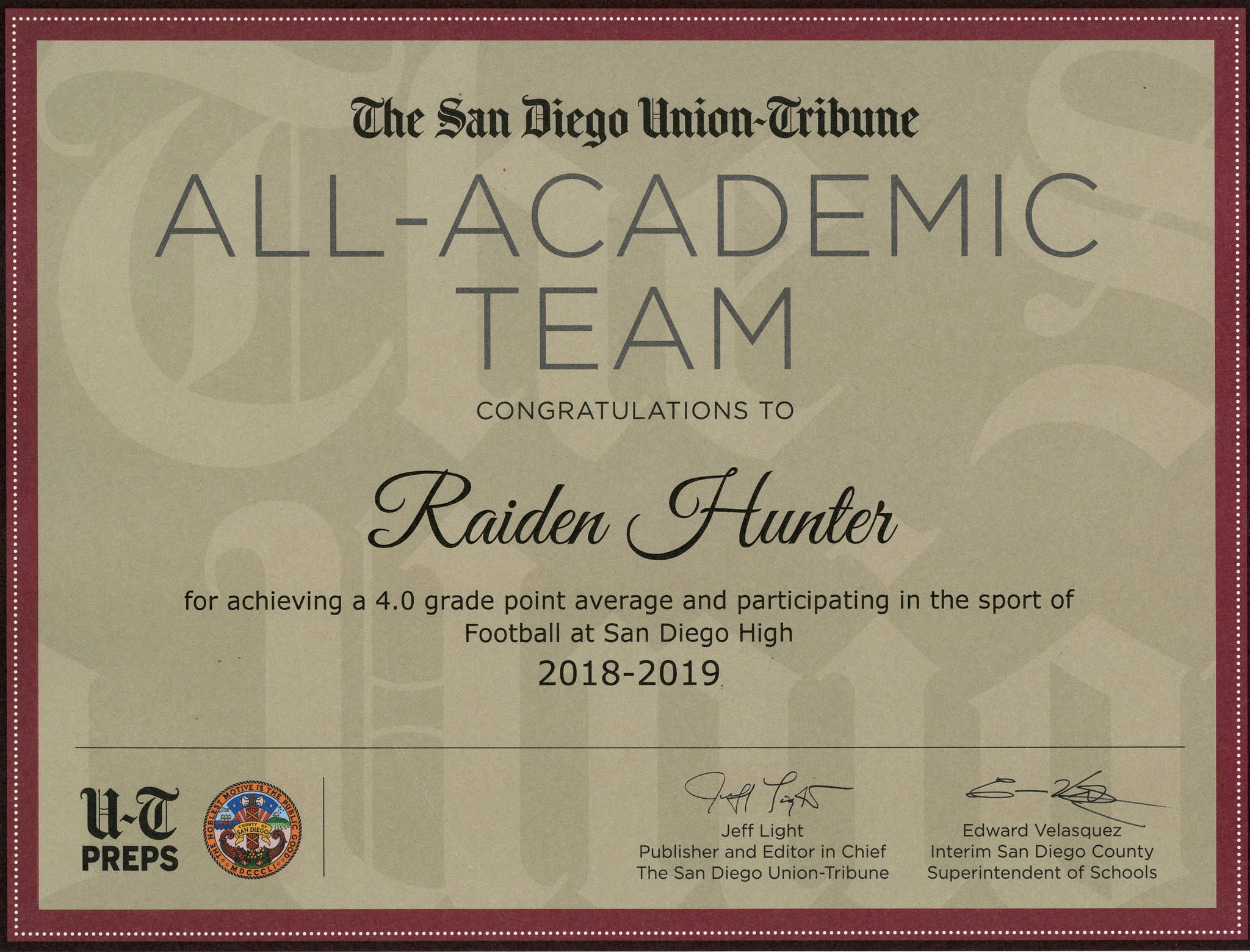 04170e495bc41 All-Academic Team for fall high school sports - The San Diego Union ...