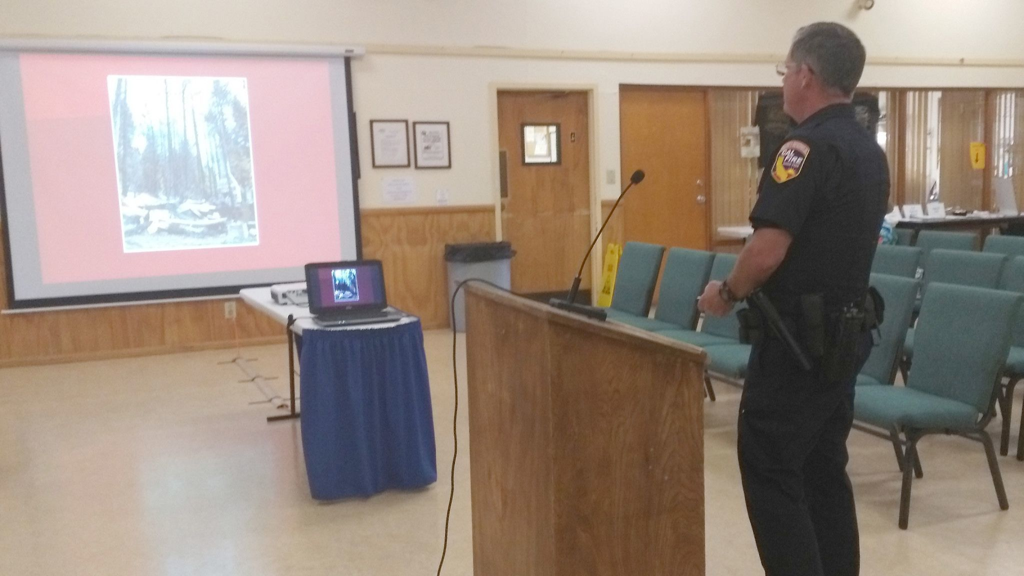 Fire Captain Specialist Kevin McCully gives a presentation on Cal Fire Defensible Space Inspection Procedures during the June 12 Ramona Municipal Water District Board meeting.