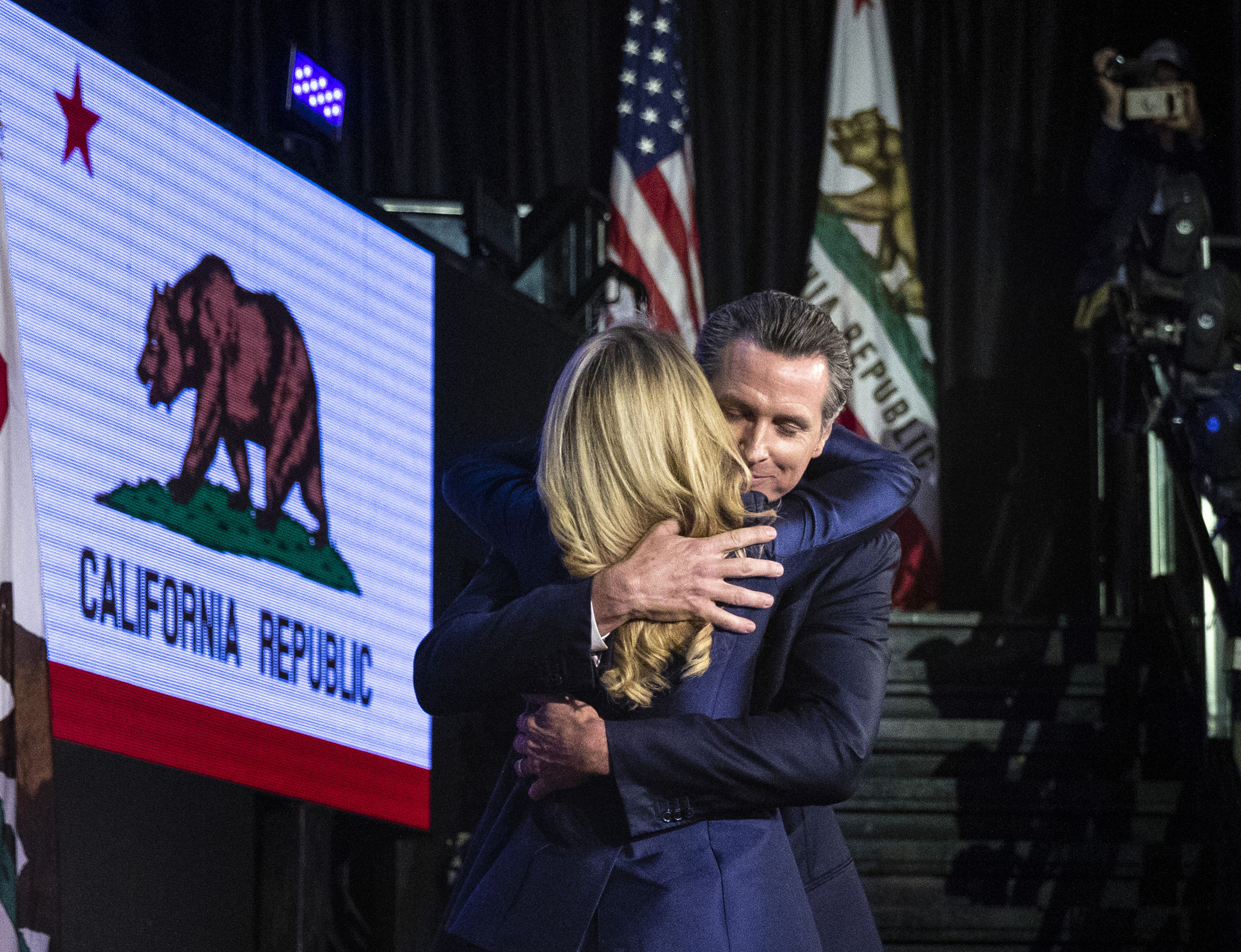 LOS ANGELES, CA --NOVEMBER 07, 2018 --Joined by his wife Jennifer Siebel Newsom, Democrat Gavin News