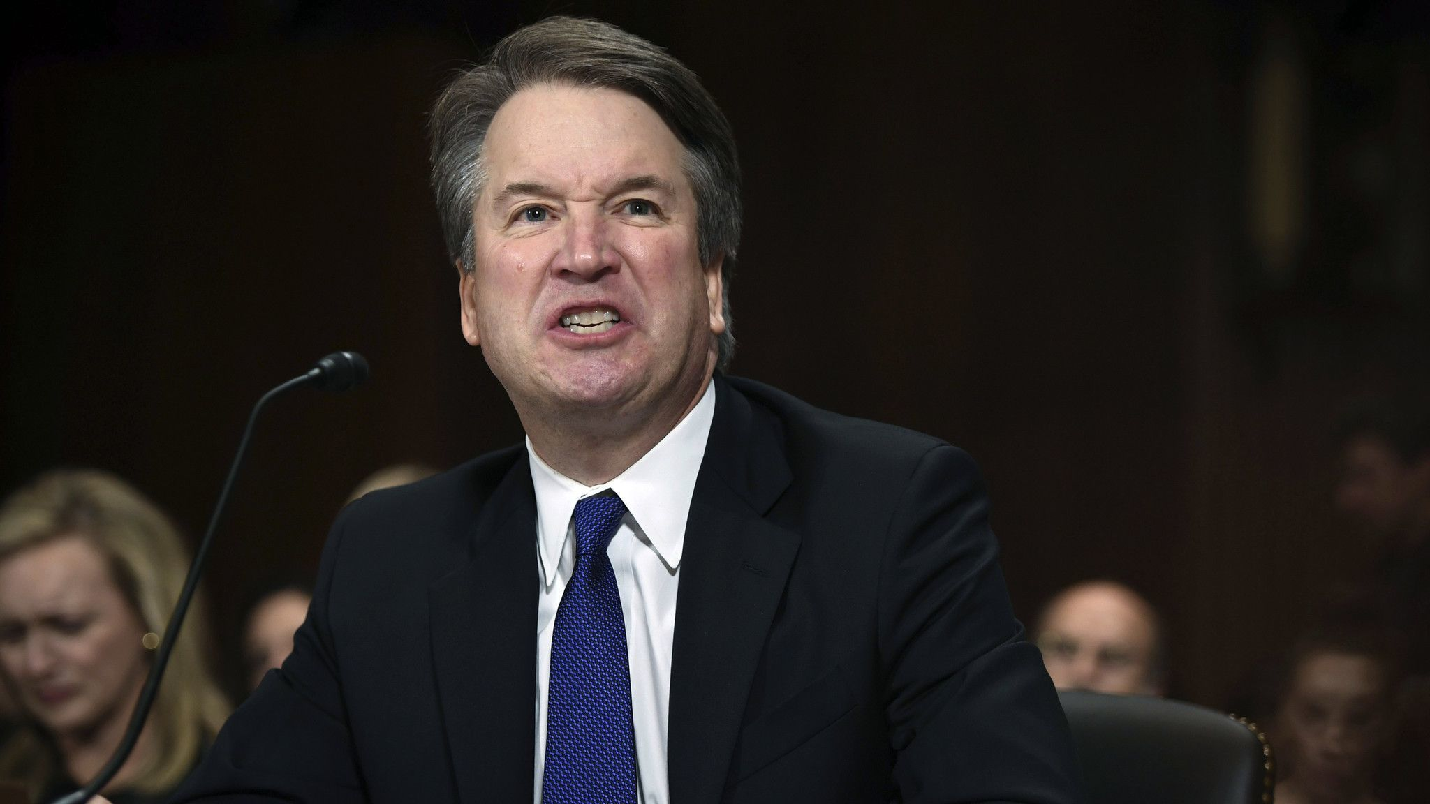 FILE - In this Thursday, Sept. 27, 2018 file photo, Supreme Court nominee Judge Brett Kavanaugh give