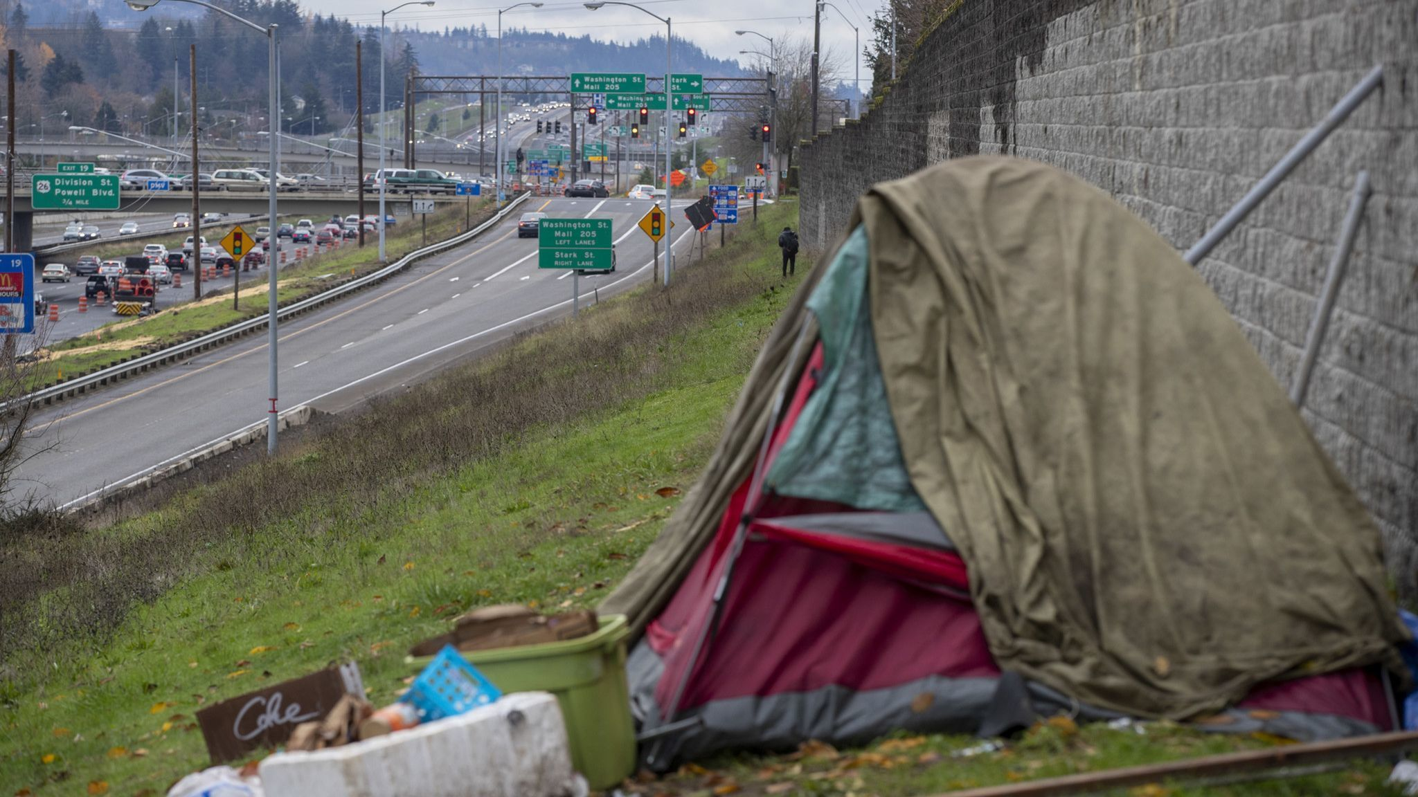 PORTLAND, ORE. — SATURDAY, DECEMBER 1, 2018: A homeless encampment along Interstate 205 in the Mo