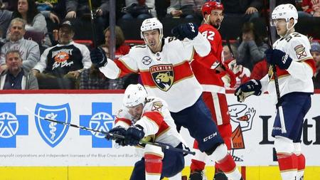 93fd71e995d Panthers overcome three-goal first-period deficit to beat Red Wings in  shootout
