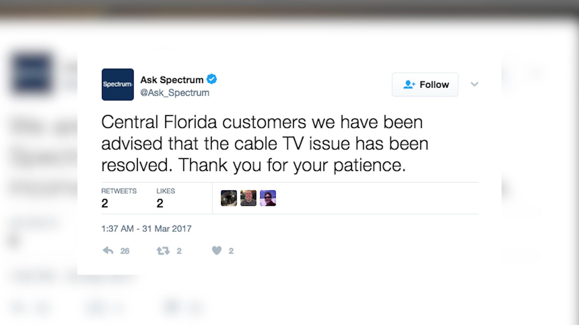 Spectrum TV fixes problem affecting Central Florida