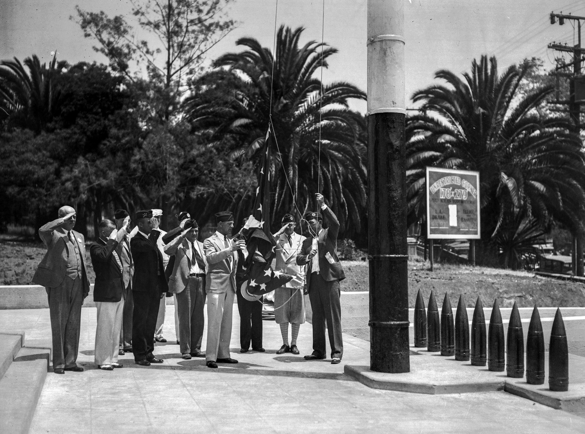 July 4, 1929: Flag raising at American Legion Post dedication in Hollywood. July 4, 1929.