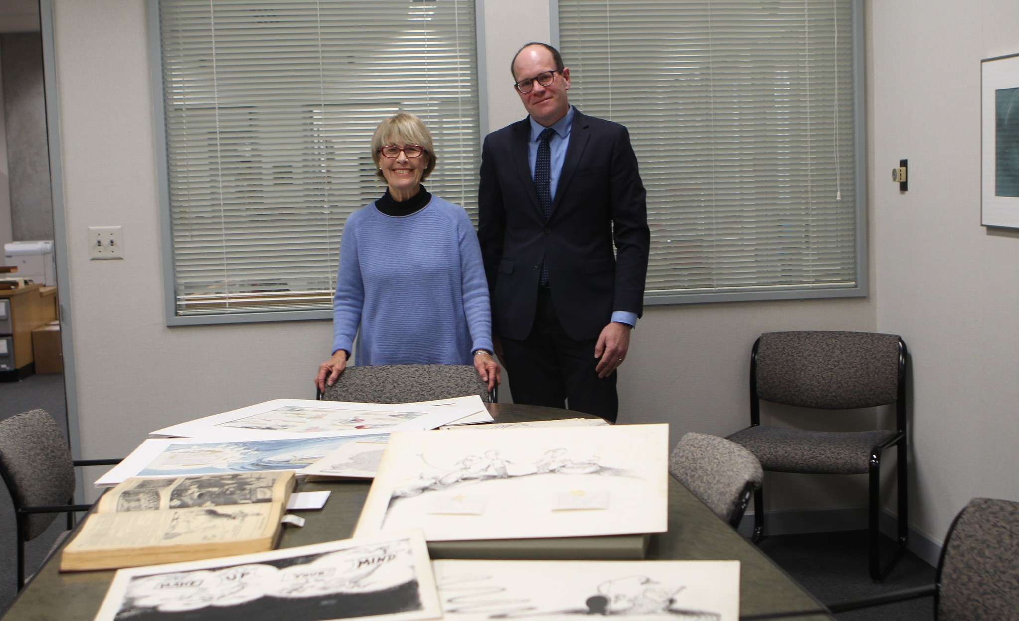 Lynda Claasen and Erik Mitchell are the proud guardians of the Dr. Seuss collection.