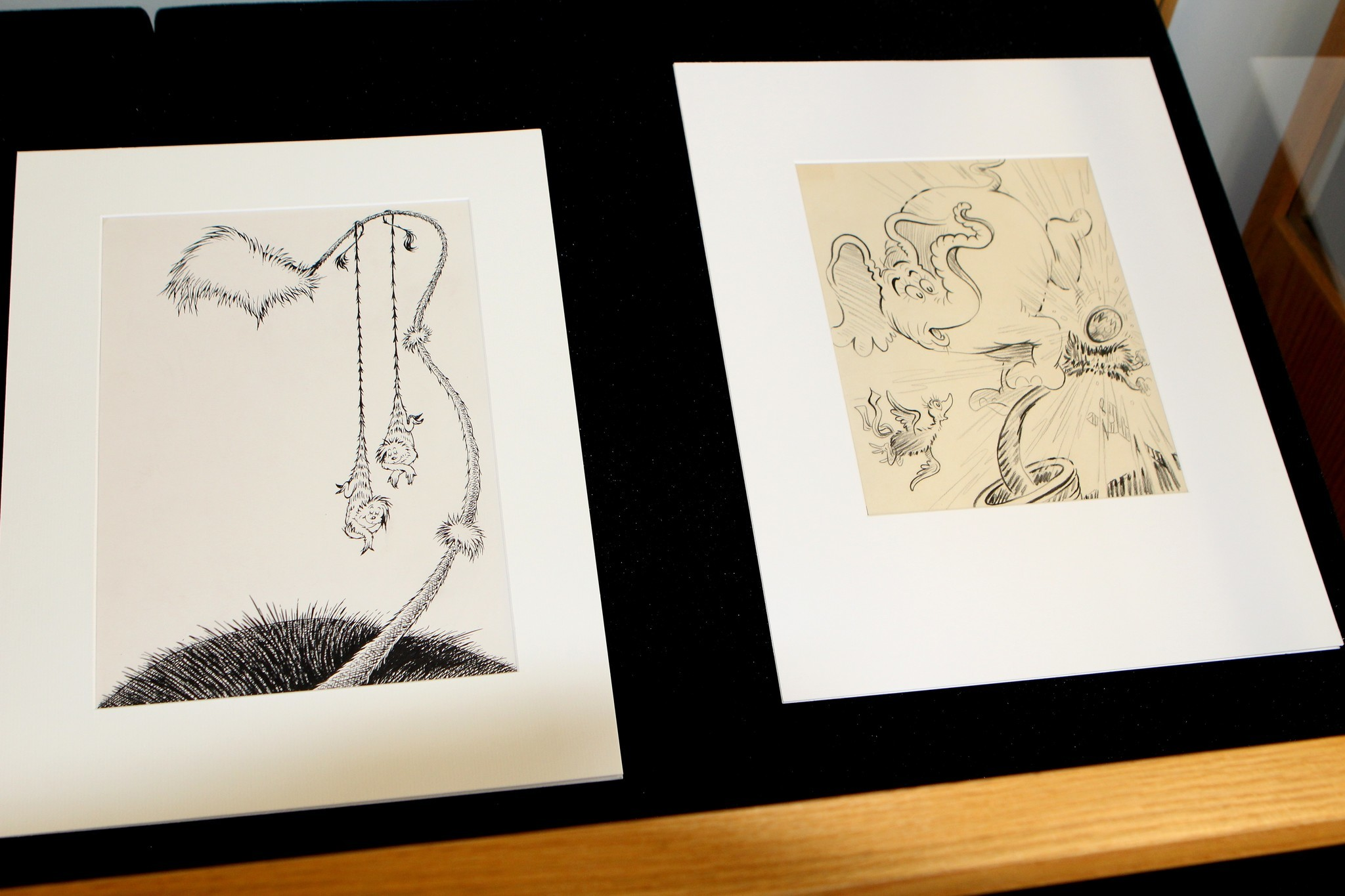 Between two and four dozen original drawings from the Seuss collection are displayed for public viewing outside the special collections office year round.