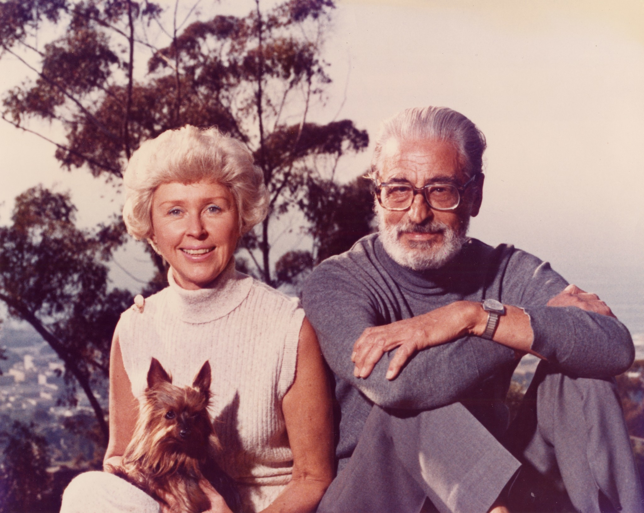 "Audrey and Ted ""Dr. Seuss"" Geisel pose at their Mt. Soledad home with their dog, Sam."