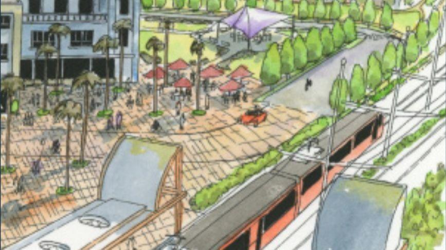 Artist rendering of housing at Morena Blvd Trolley Station - image link to source article