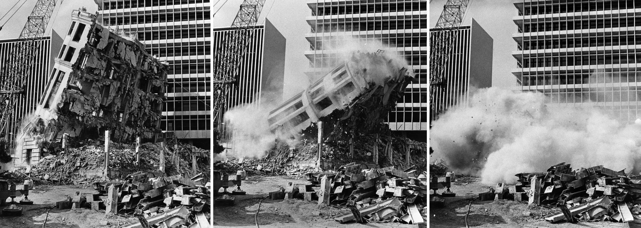 July 7, 1973: Three photo combo as the last section of the Old Hall of Records is toppled. These pho