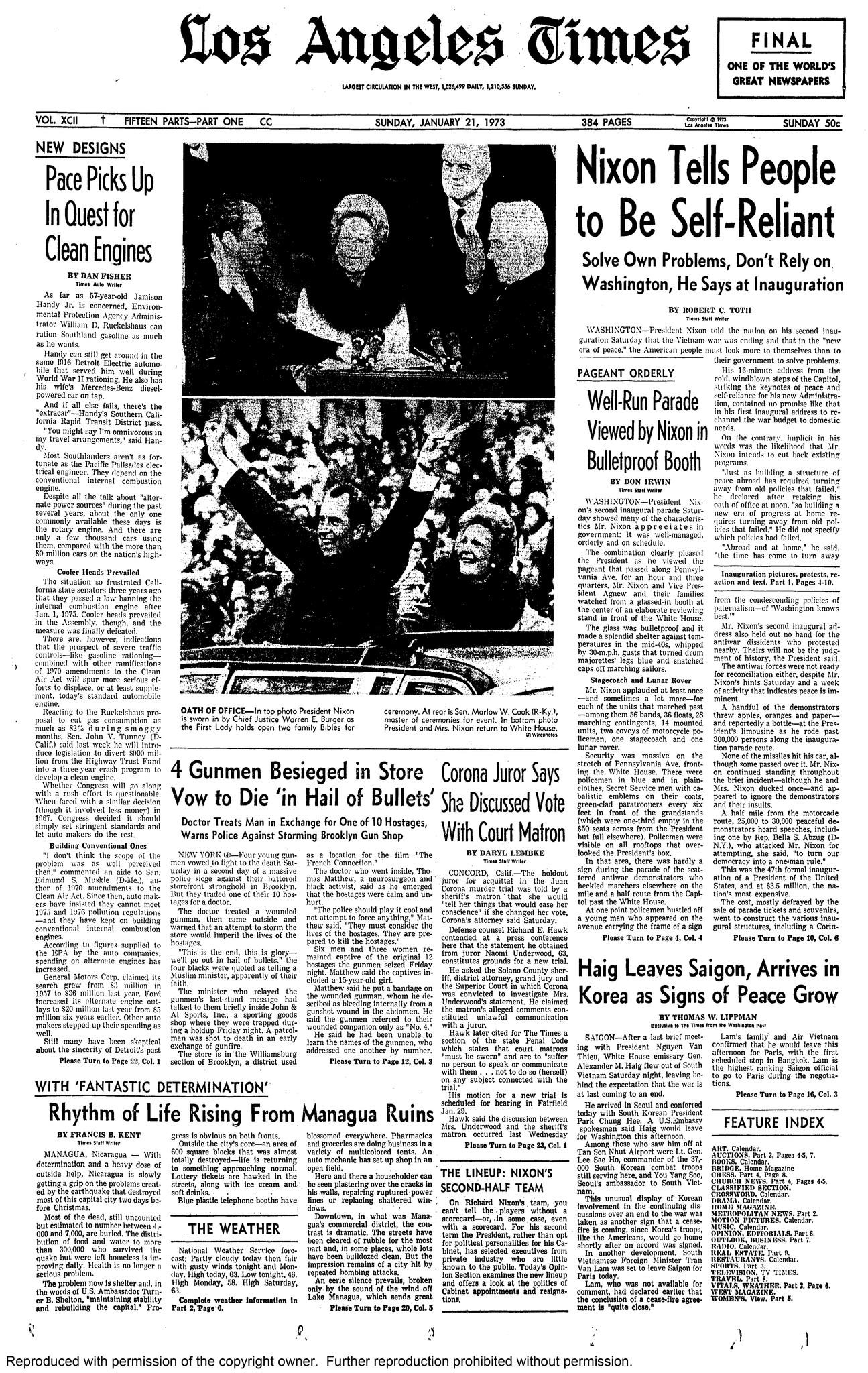 The front page of the Los Angeles Times on Jan. 21, 1973.