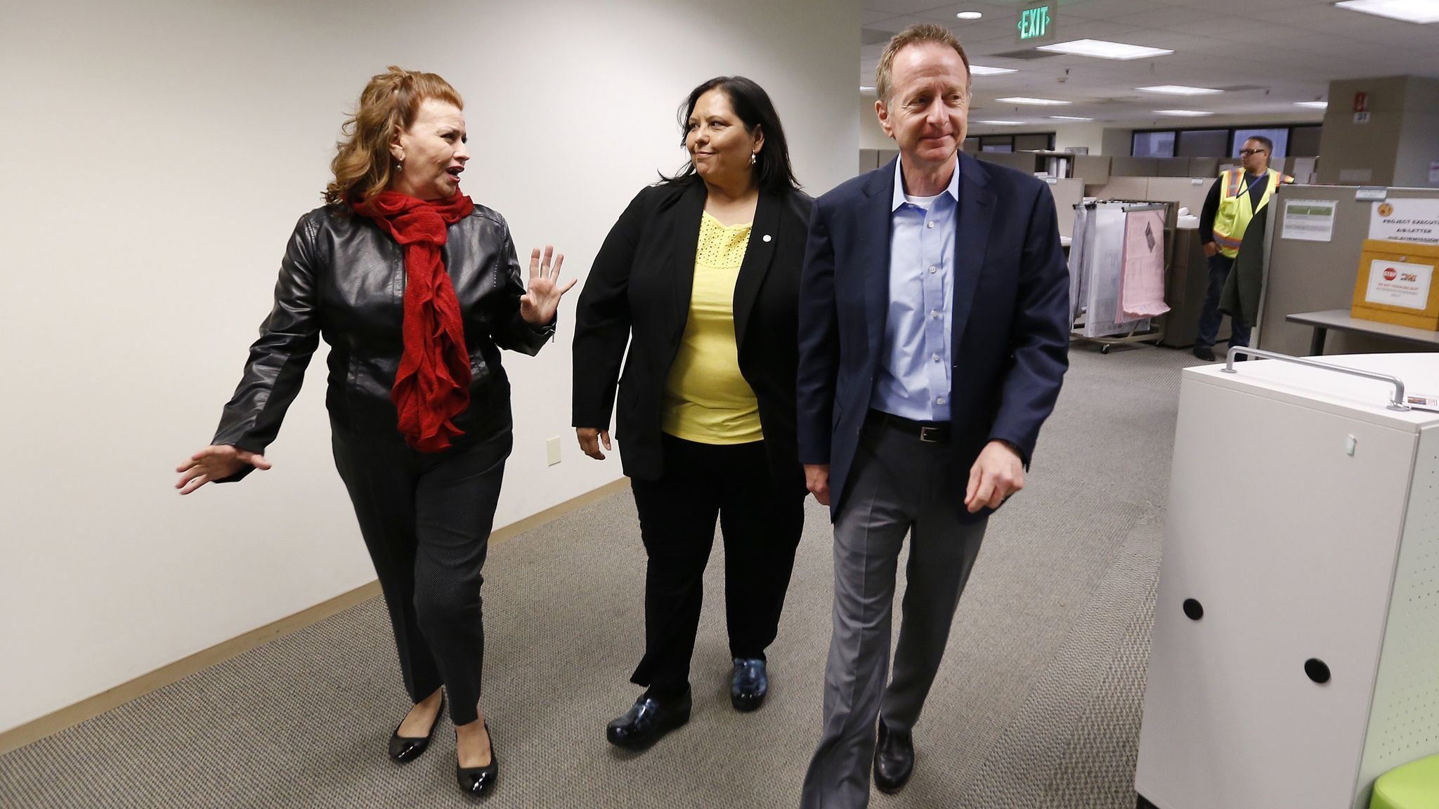 LOS ANGELES, CA - JANUARY 14, 2019 Los Angeles School Superintendent Austin Beutner, right, with S