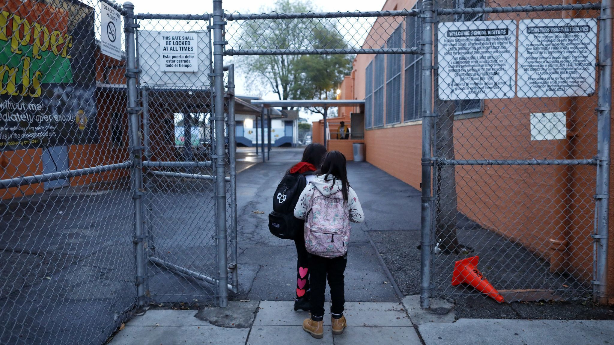 LOS ANGELES, CALIF. — TUESDAY, JANUARY 15, 2019: Students wait to enter Trinity Elementary while LA