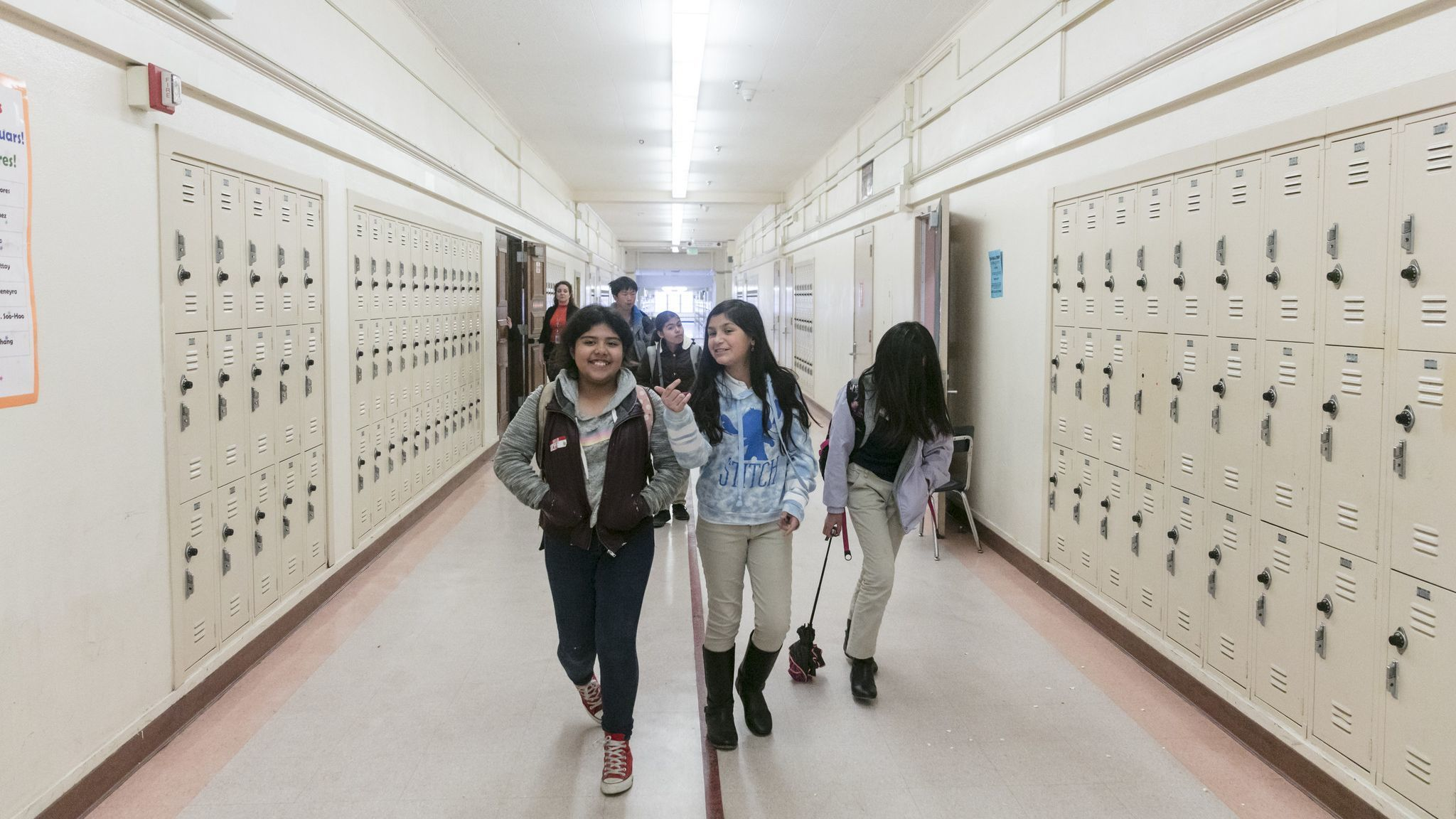 LOS ANGELES, CALIFORNIA - Jan. 14, 2019: Students walk to their lunch at the El Sereno Middle Schoo