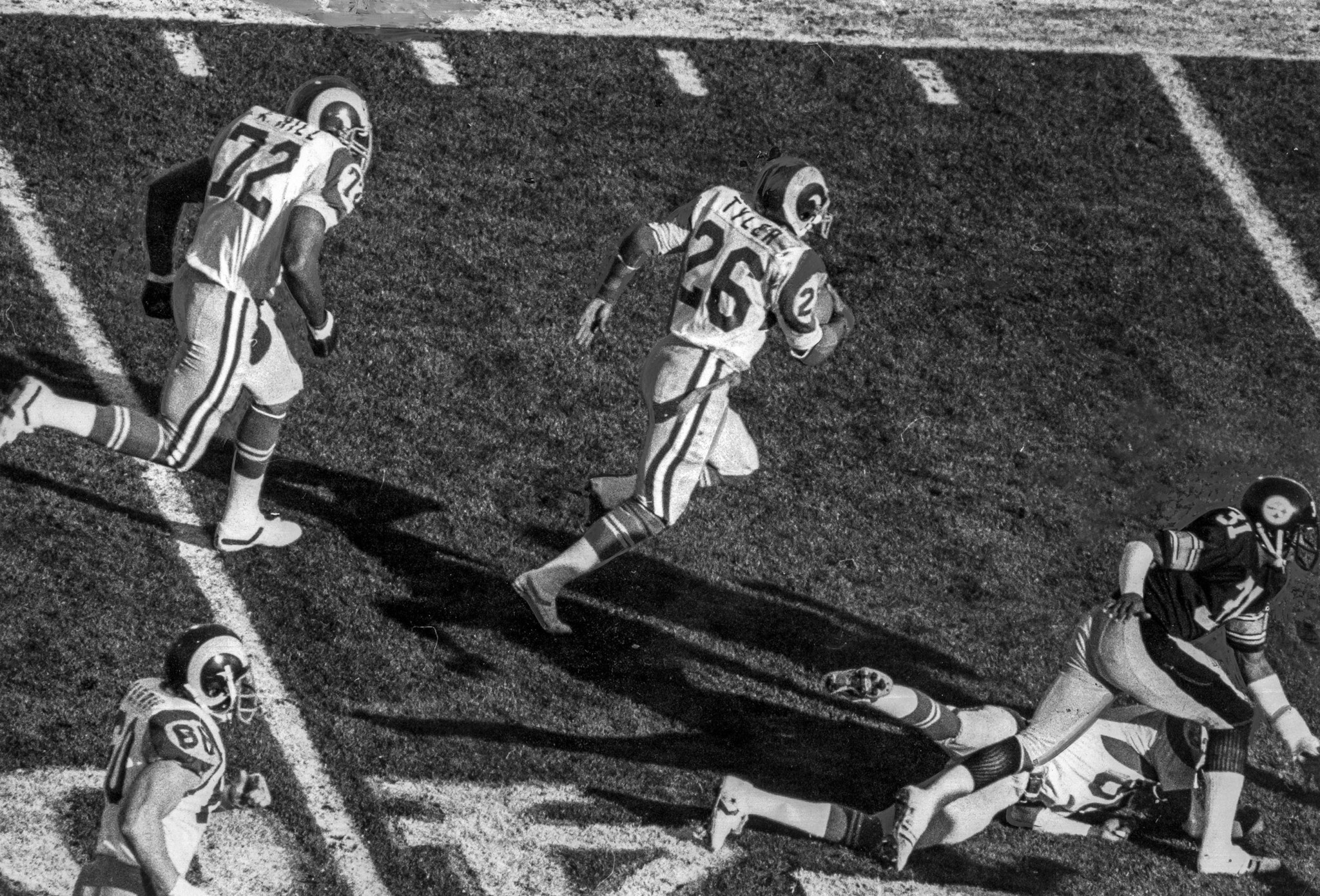 Jan. 20, 1980: Rams Wendell Tyler breaks loose for a 39-yard run in the first quarter. Donnie Shell