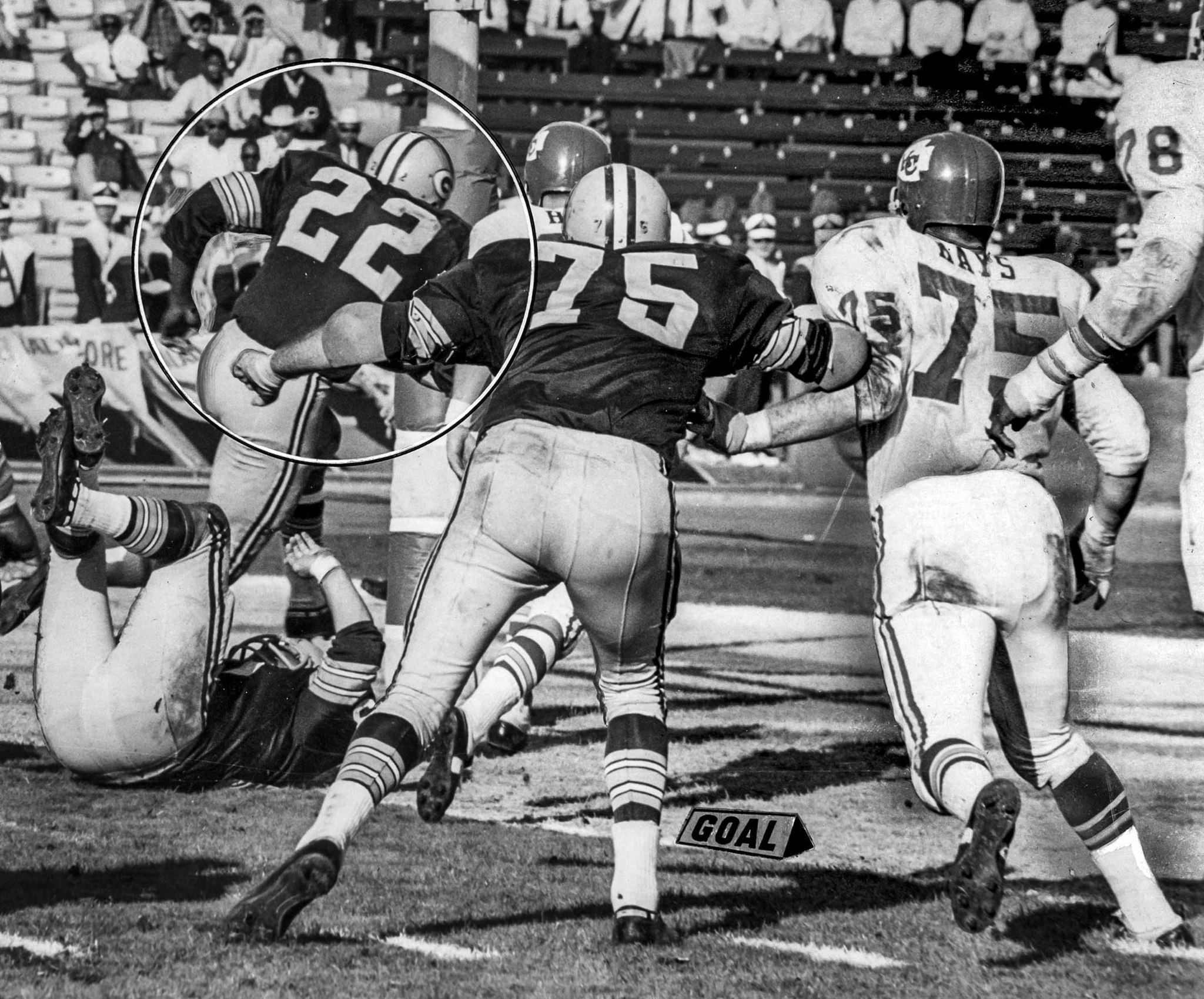 Jan. 15, 1967: Packers' Elijah Pitts, 22, scores on five yard run early in the third quarter. Packer