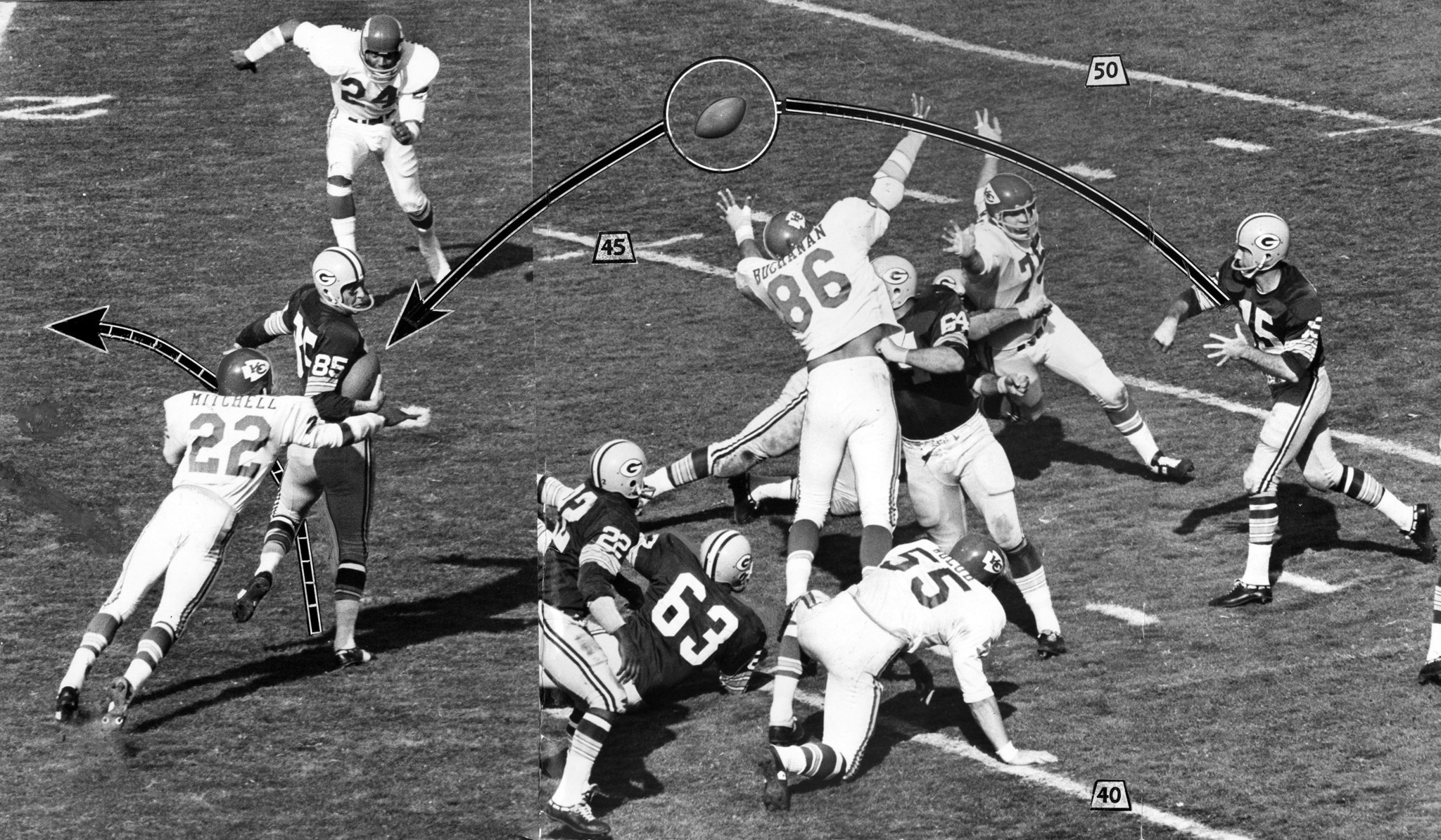 Jan. 15, 1967: Green Bay quarterback Bart Starr throws pass to Max McGee who made one handed catch a