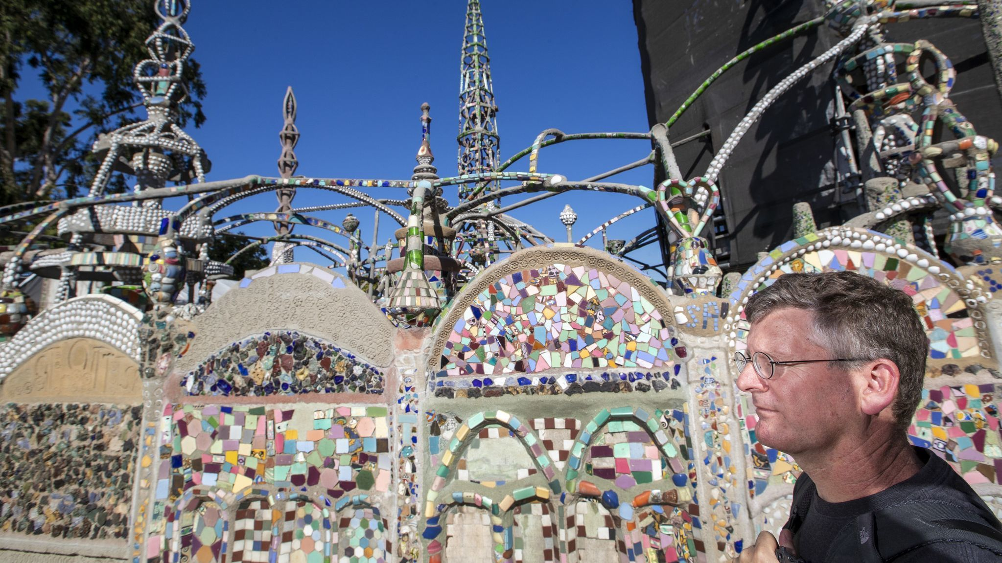 WATTS, CALIF. — WEDNESDAY, NOVEMBER 14, 2018: A view of shells imbedded in the Watts Towers by Saba
