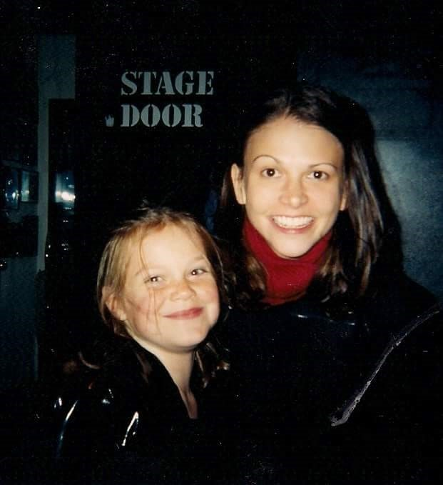 Katheryne Penny, 8, meets actress Sutton Foster following a Broadway performance of