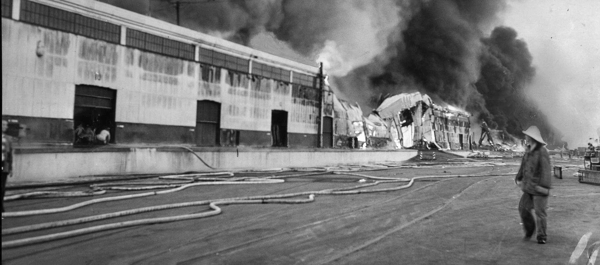 June 22, 1947: Following the explosion of the tanker Markay in Los Angeles Harbor, firese spread 200