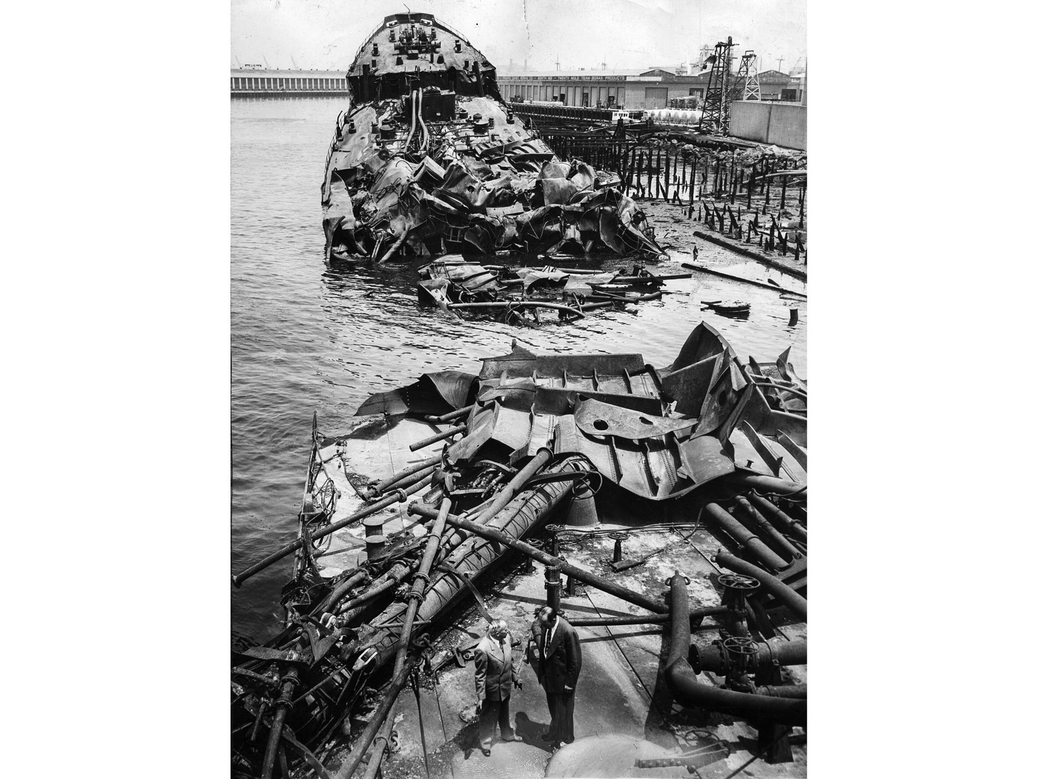 June 23, 1947: View from stern showing what's left of the tanker S.S. Markay in Los Angeles Harbor