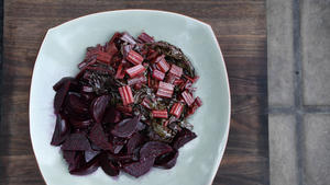 ​​​​​​​Soy-braised swiss chard with shallot-marinated beets