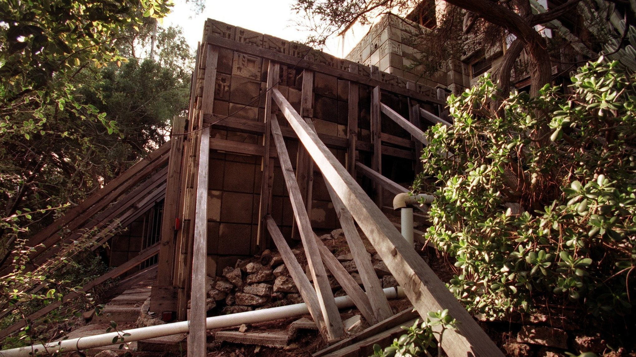 Freeman House after the Northridge earthquake