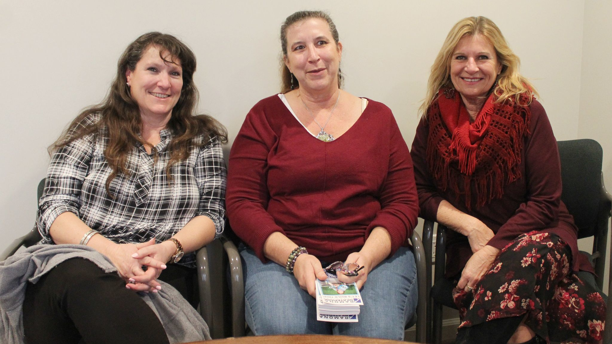 From left, Ramona Parks and Recreation Assoc. Executive Director Dawn Perfect, Ramona Skatepark Champions President Tracy Engel, Ramona Food & Clothes Closet Manager Vesna Curry.