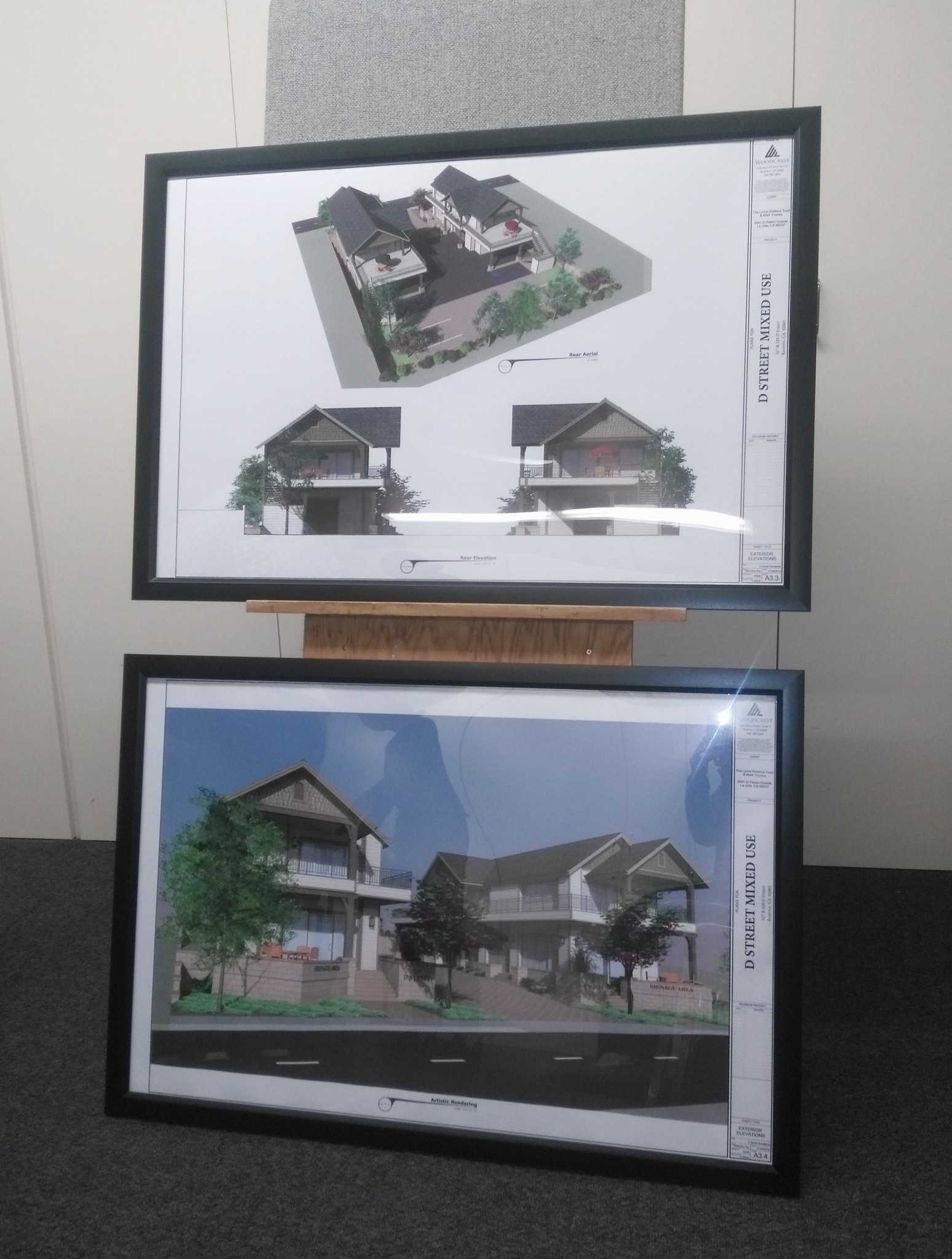 These renderings depict two mixed-use projects proposed to be built at 327 and 329 D streets, behind the former Sizzler restaurant.