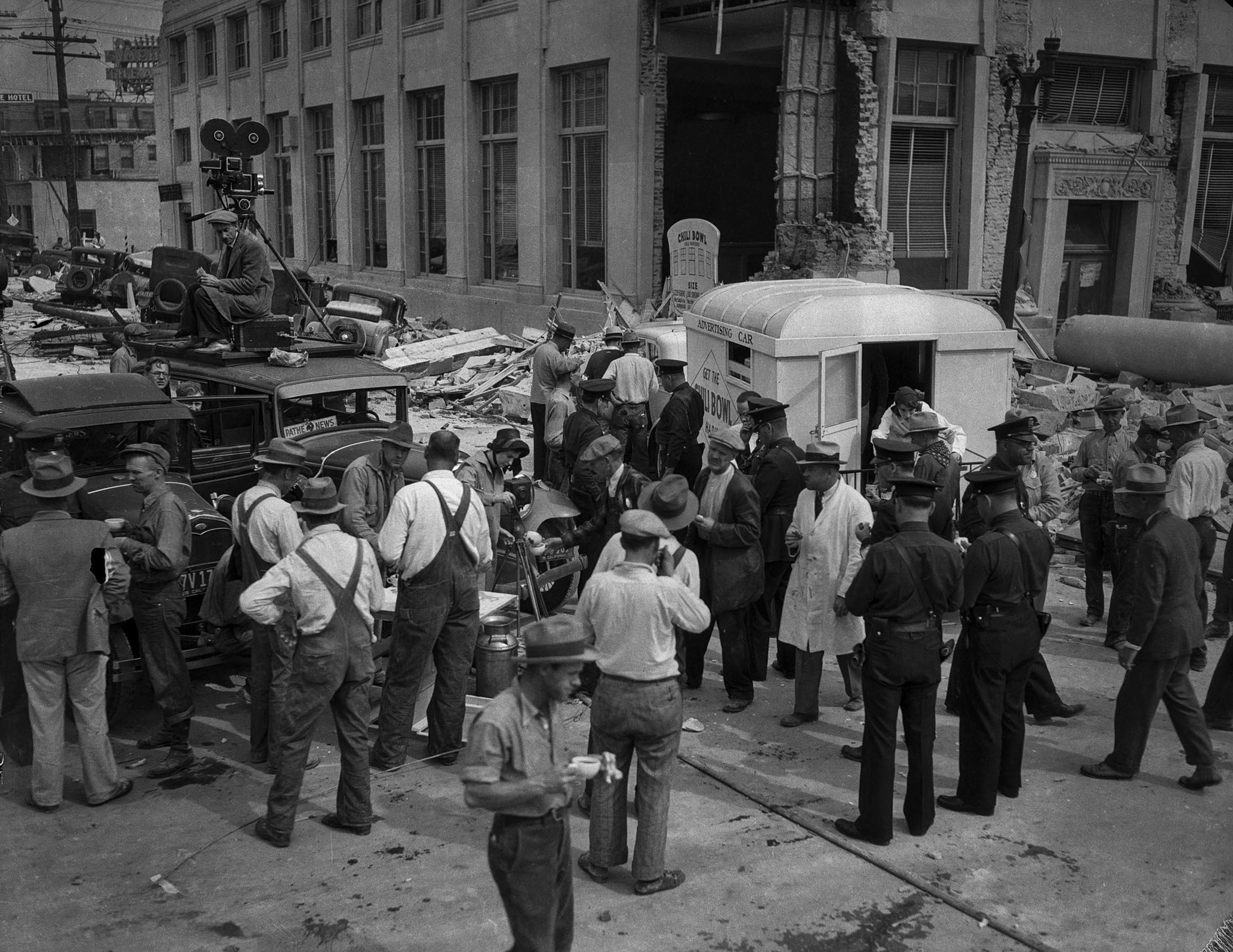 March 13, 1933: Hungry are fed in Compton after the March 10, 1933, Long Beach Earthquake. On the le