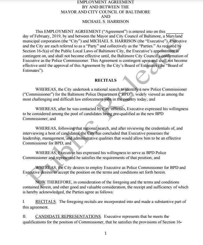 Document Contract For Baltimore Police Commissioner Nominee Michael