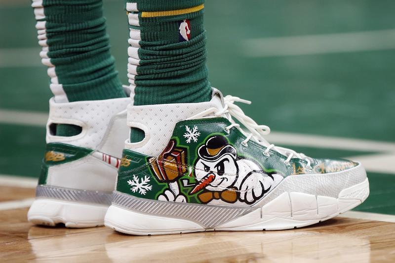 new concept 9e6f2 e3b0e Boston Celtics Marcus Morris wears holiday themed shoes on the court.