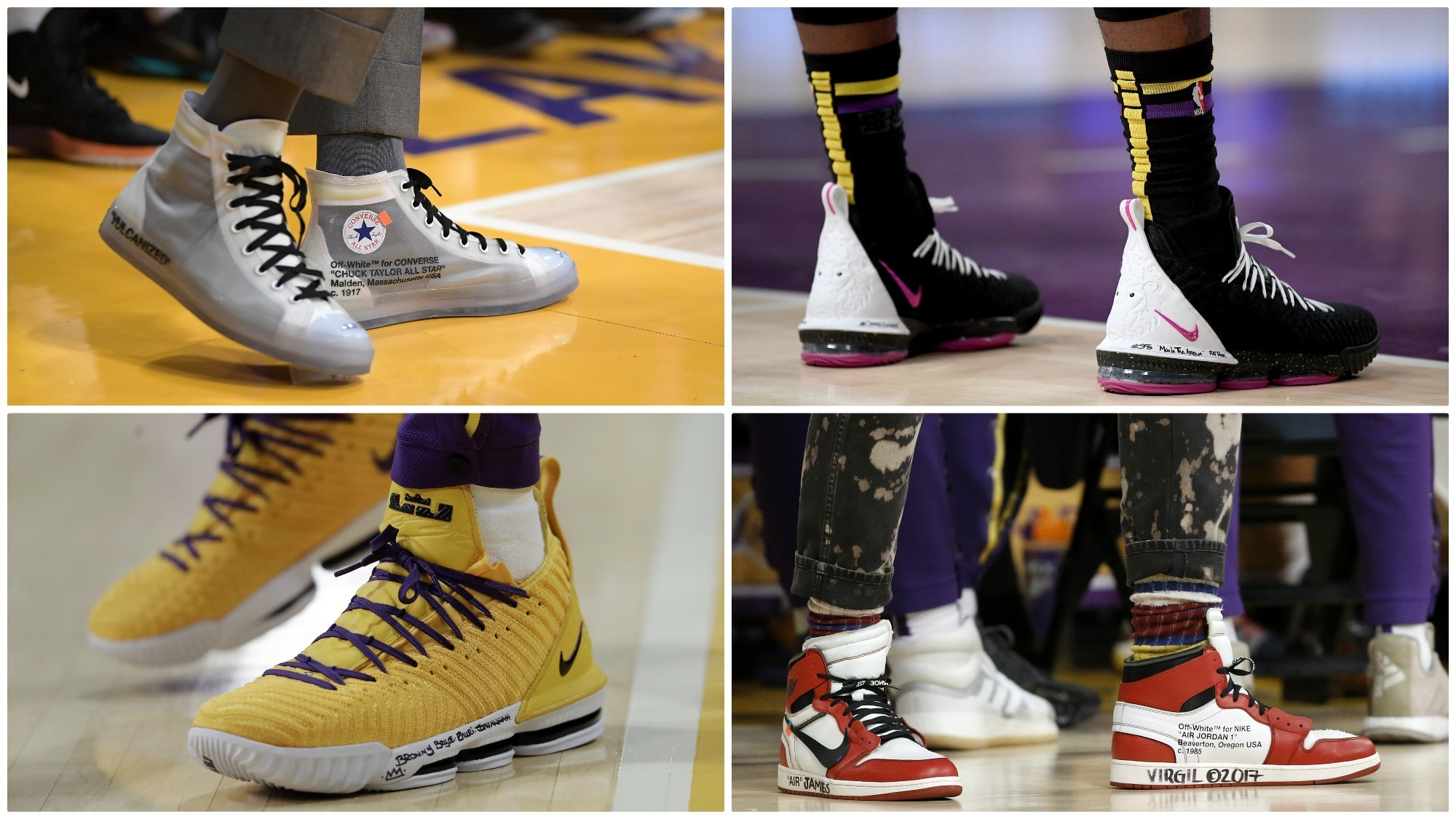 The shoes of Los Angeles Lakers forward LeBron James.