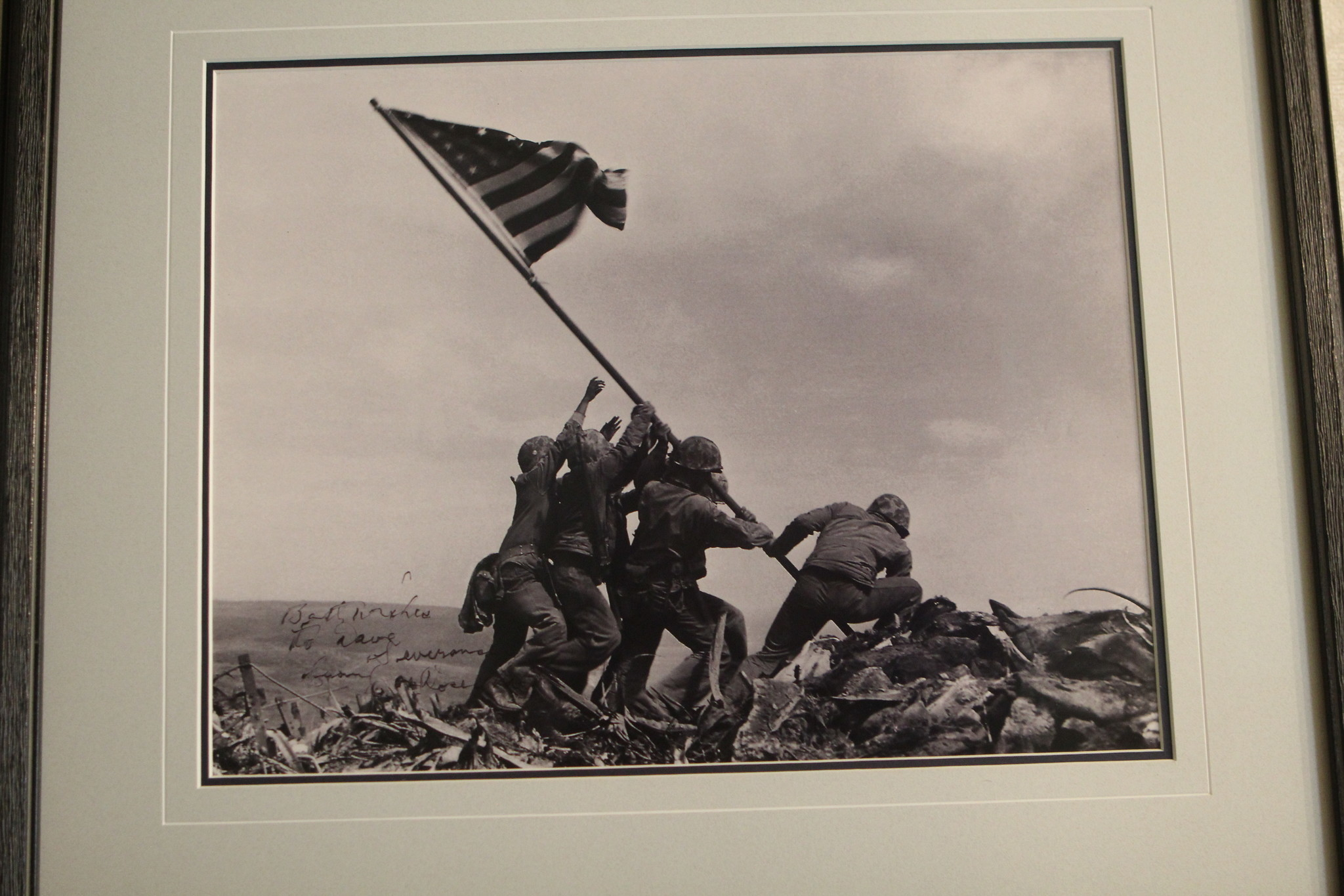 Severance owns a copy of the iconic Iwo Jima photo autographed to him by its photographer, Joe Rosenthal.