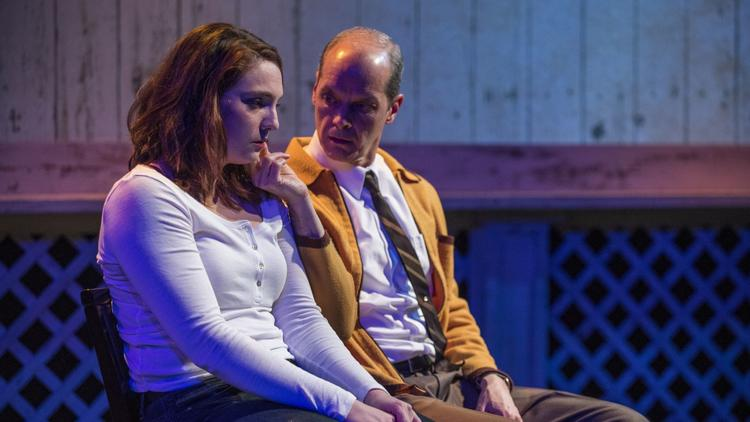 "Eliza Stoughton and Mark Ulrich in ""How I Learned to Drive"" at the Raven Theatre in 2019. (Photo by Michael Brosilow)"