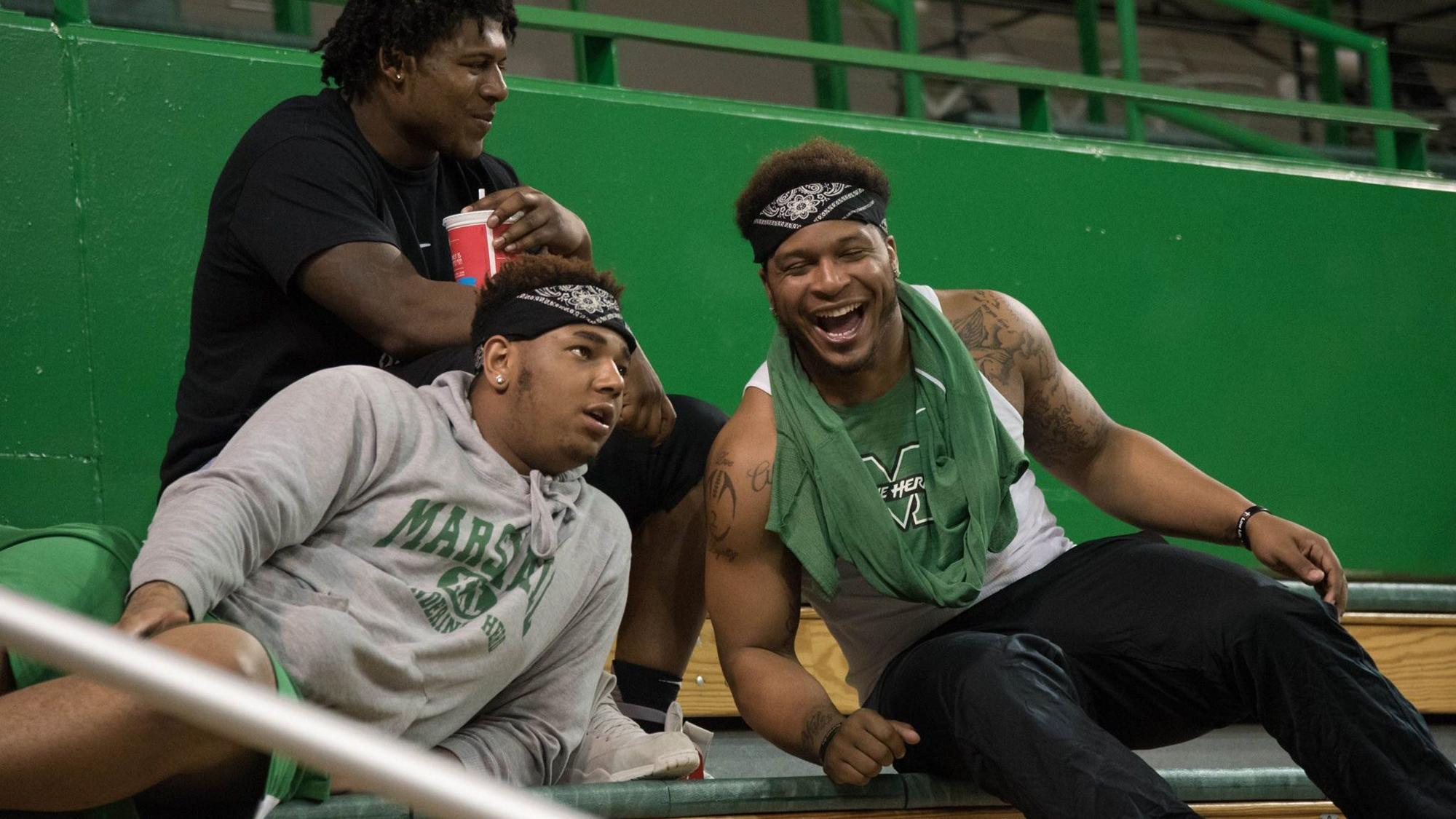 Larry Aaron III with friends at Marshall