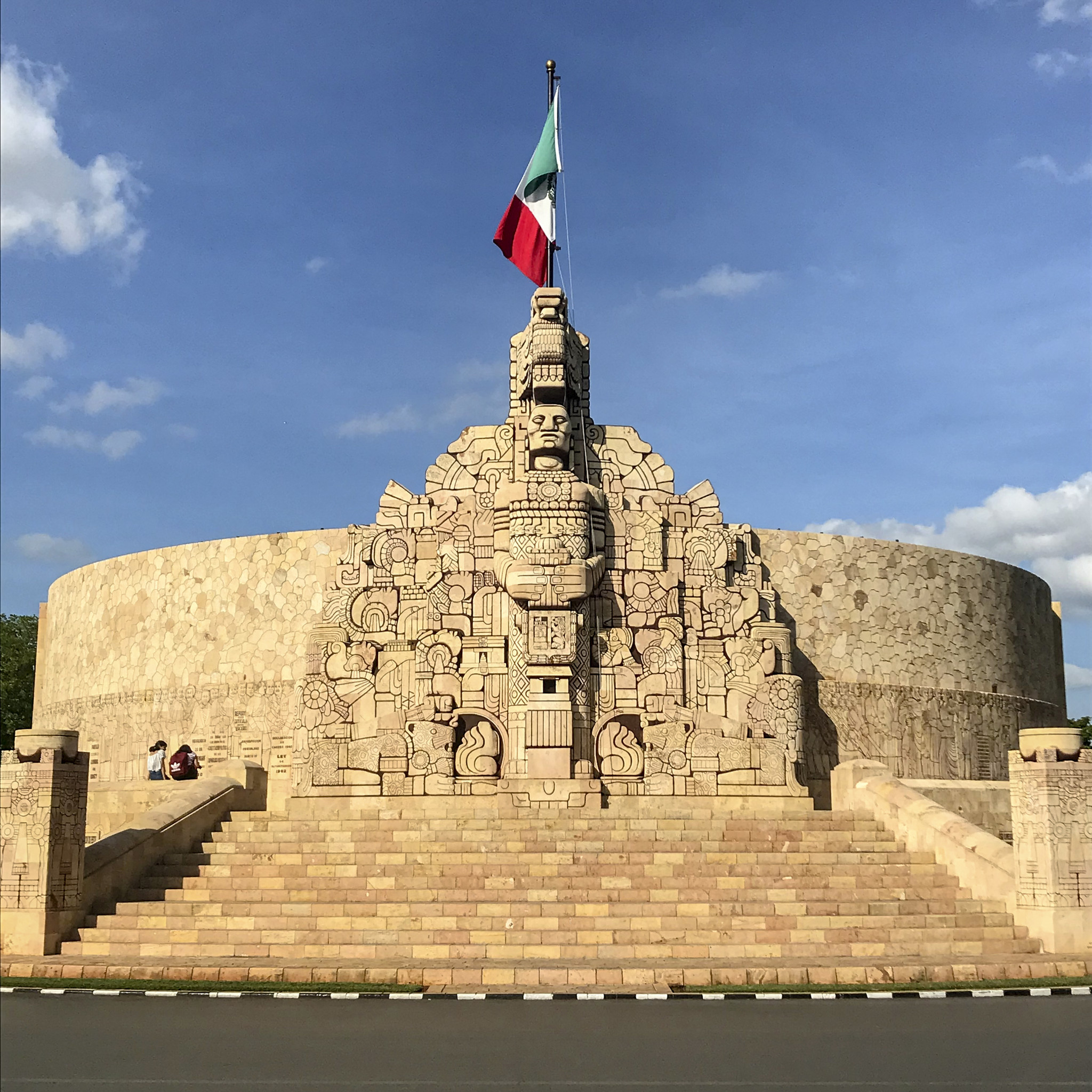 MERIDA, MEXICO - The grand Monument to the Fatherland on the broad Paseo de Montejo boulevard in Mer