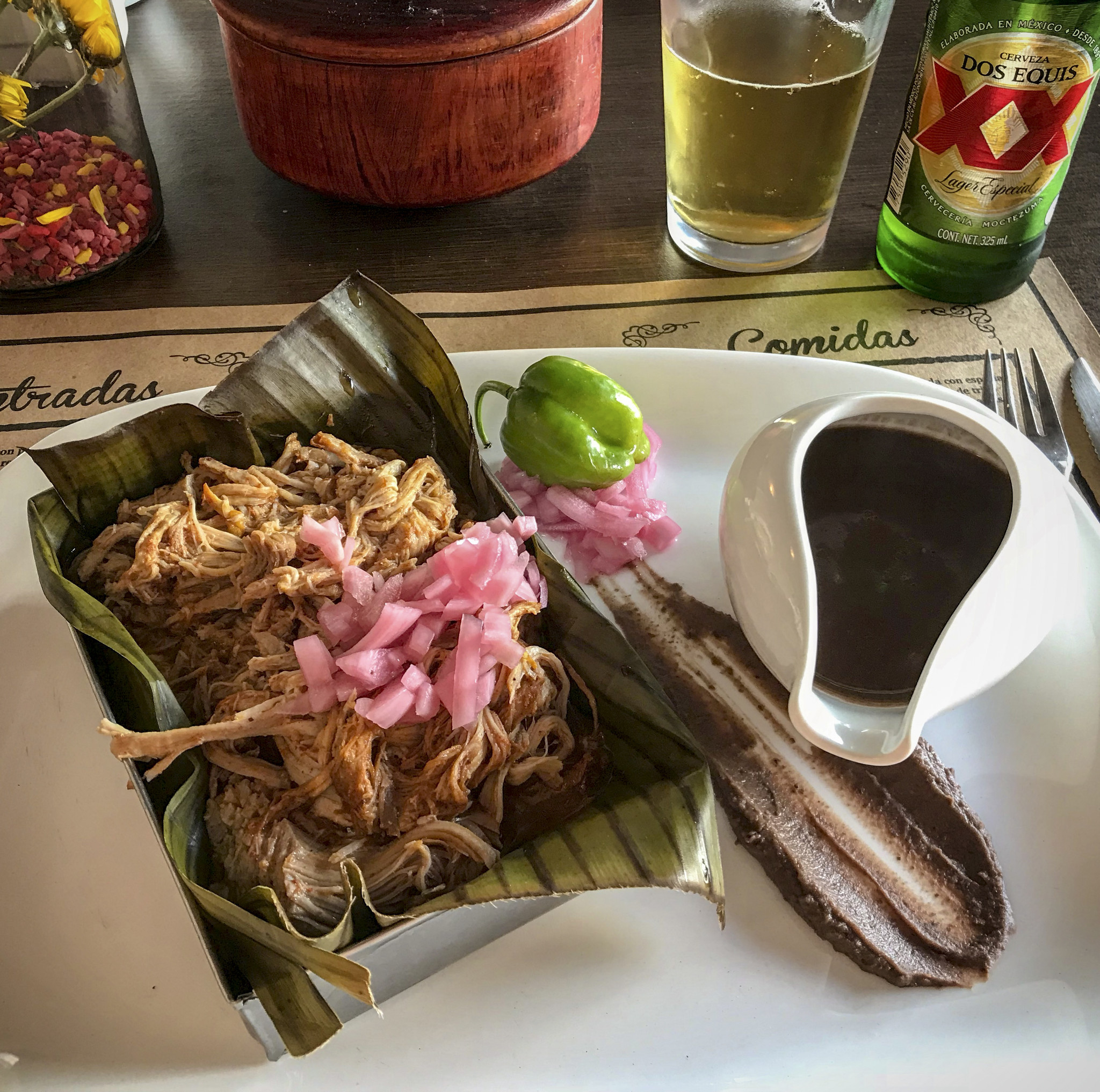 MERIDA, MEXICO - The iconic Yucatecan dish Cochinita pibil – slow-roasted pork – at Manjar Blanco re