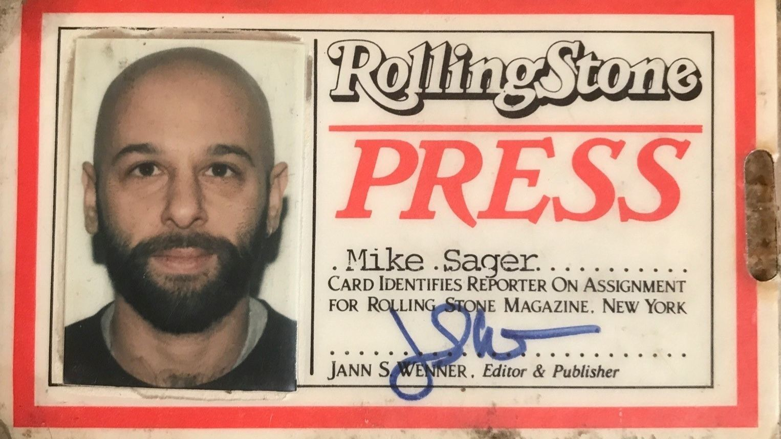 Sager's old 'Rolling Stone' press badge