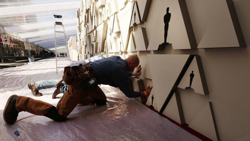 Carpenter Freddy McDonald prepares for the Academy Awards.