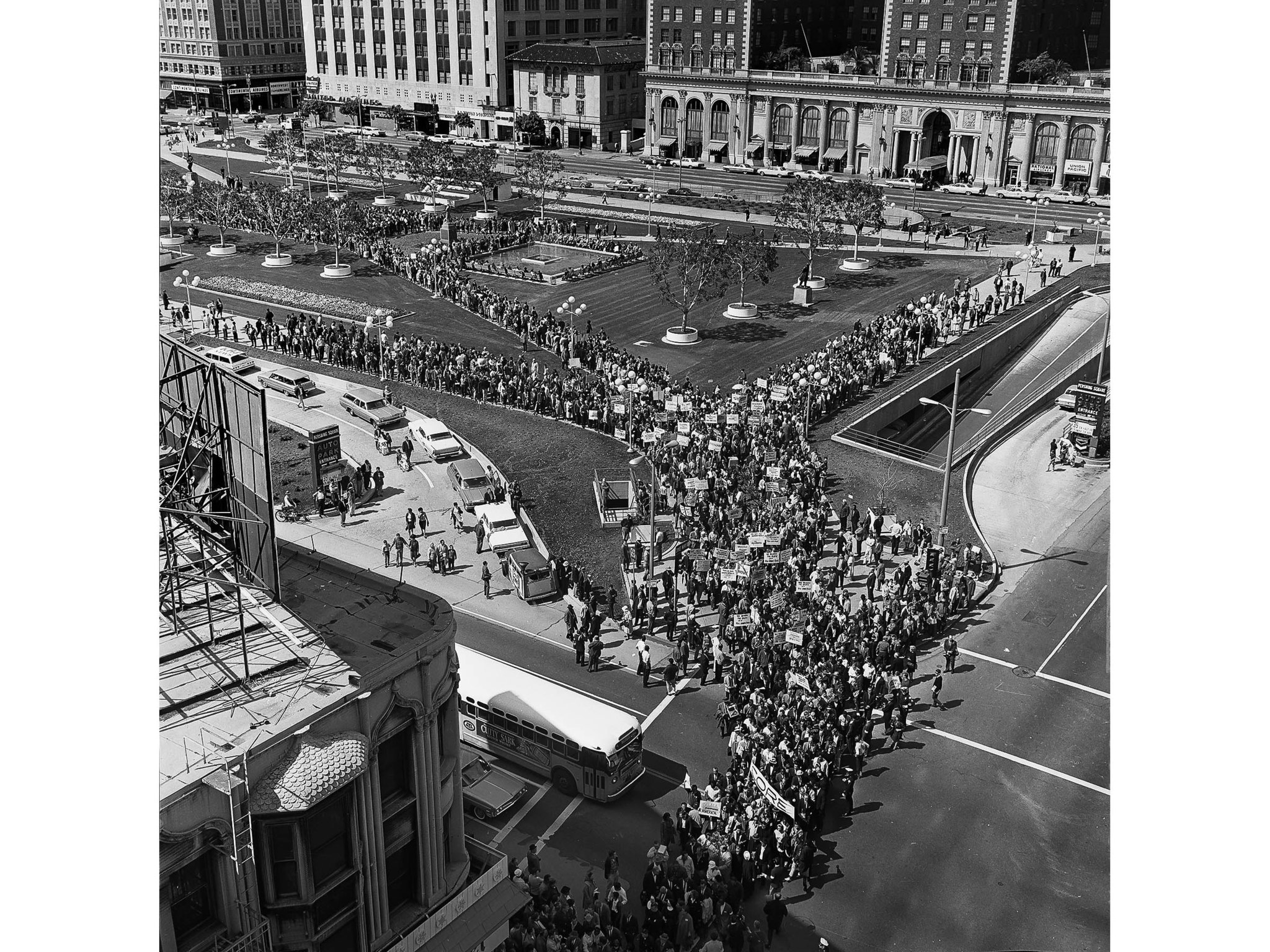 March 13, 1965: Civil Rights marchers leave Pershing Square at 5th and Hill in Los Angeles enroute t