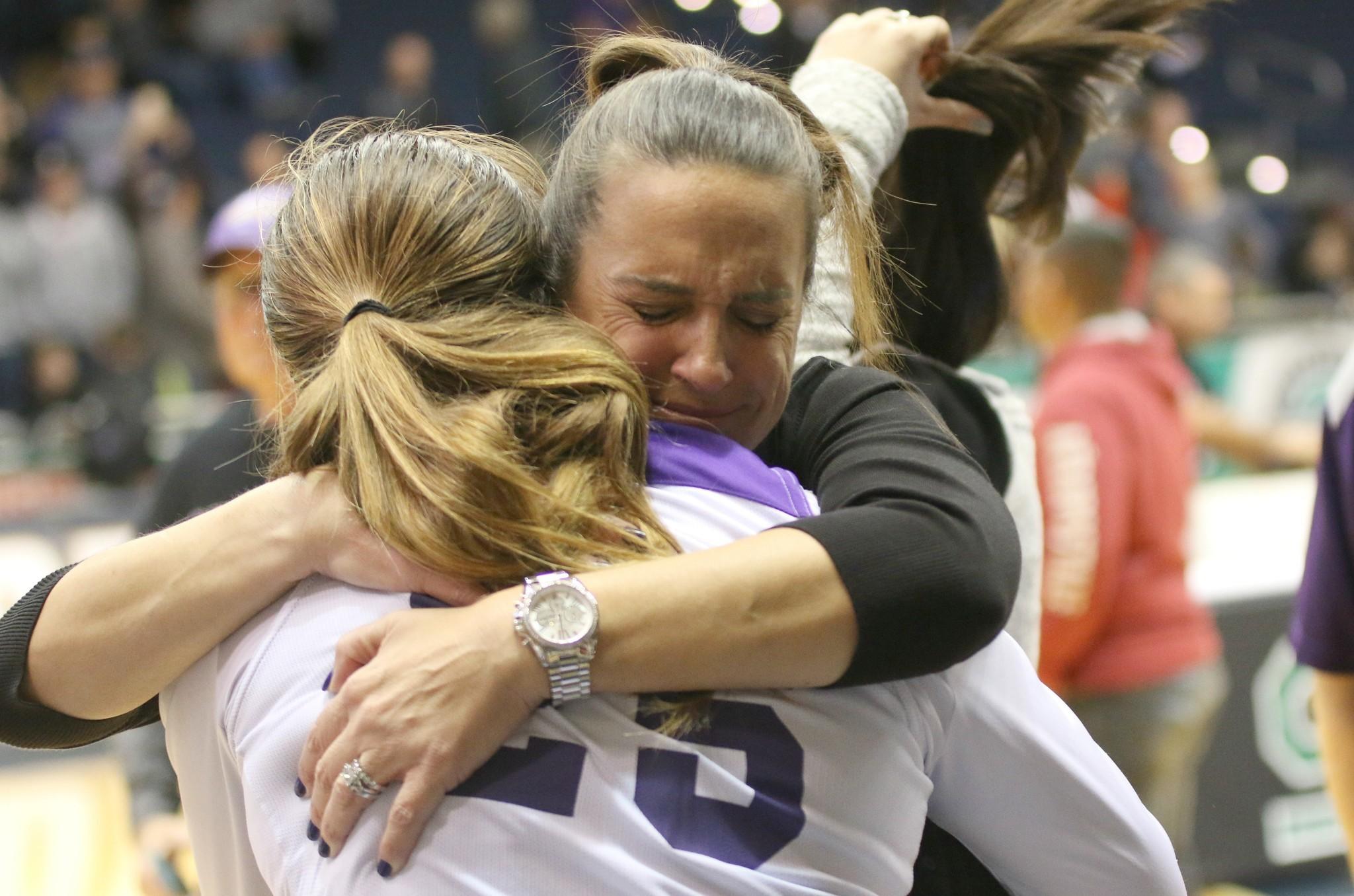 Senior Ari Pagan and Head Coach Donna Huhn share a post-game moment.