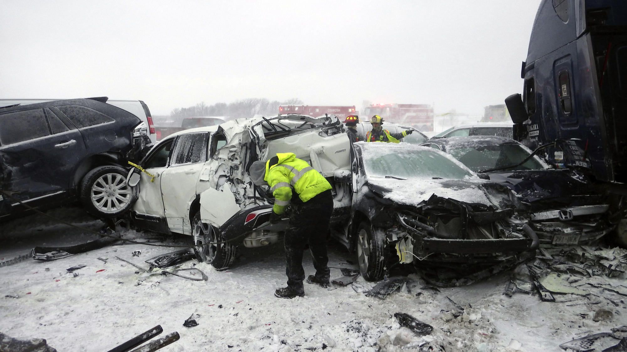 video released of massive pileup in wisconsin involving 131 cars that claimed life of teacher