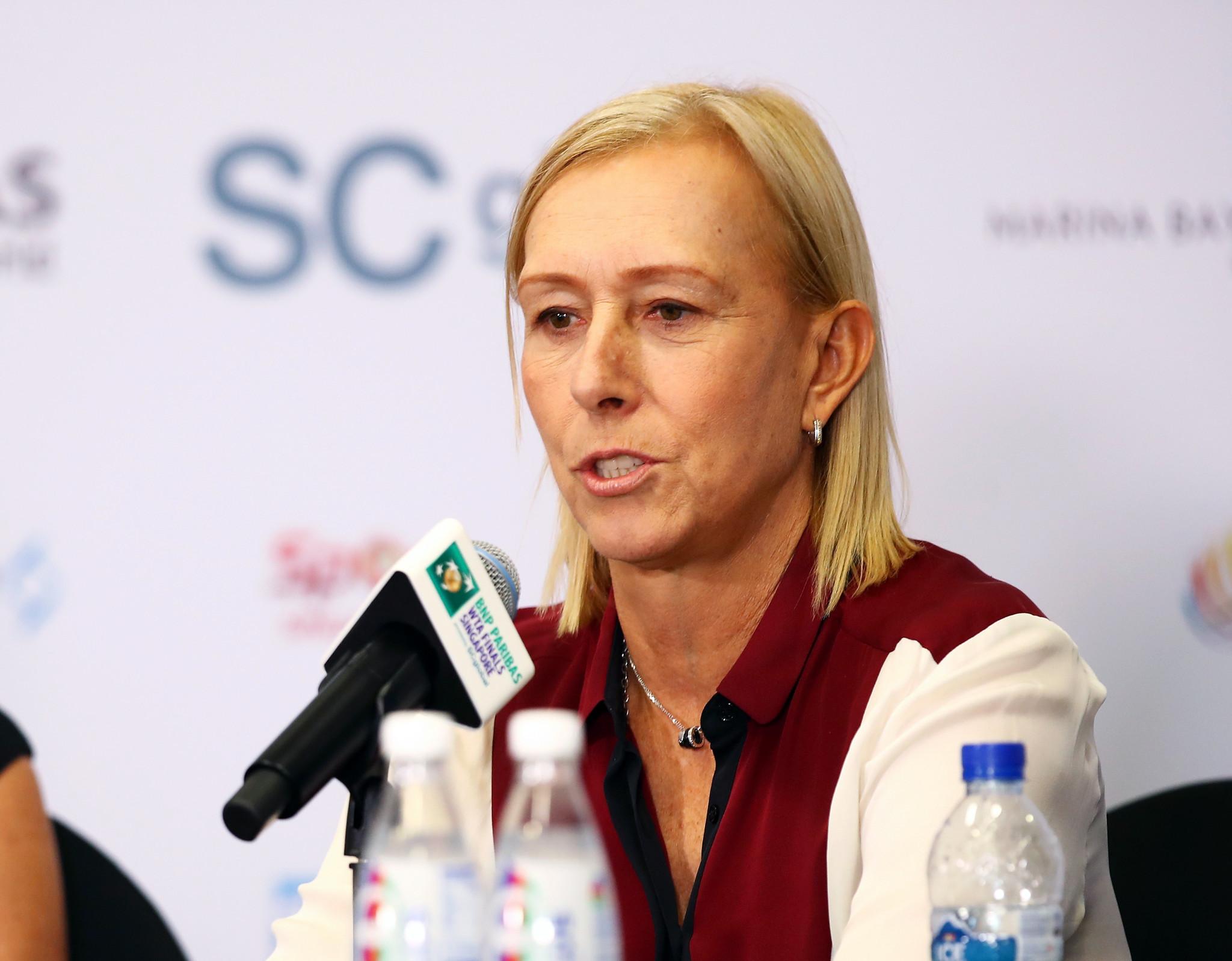 Martina Navratilova and John McEnroe hold protest against Margaret Court during Australian Open