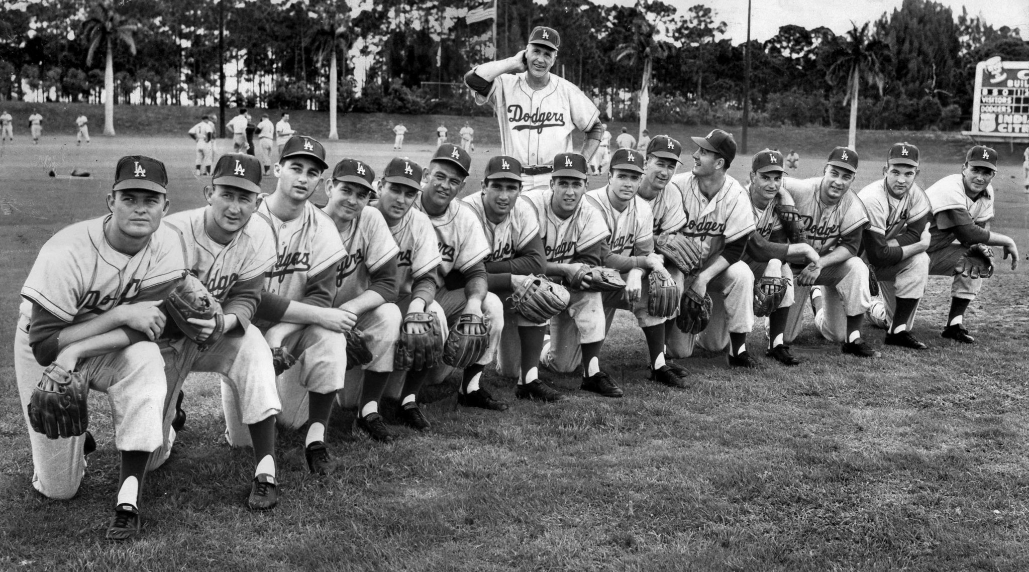 March 8, 1959: Dodgers manager Walt Alson, standing, with his pitchers at Vero Beach, Florida. From