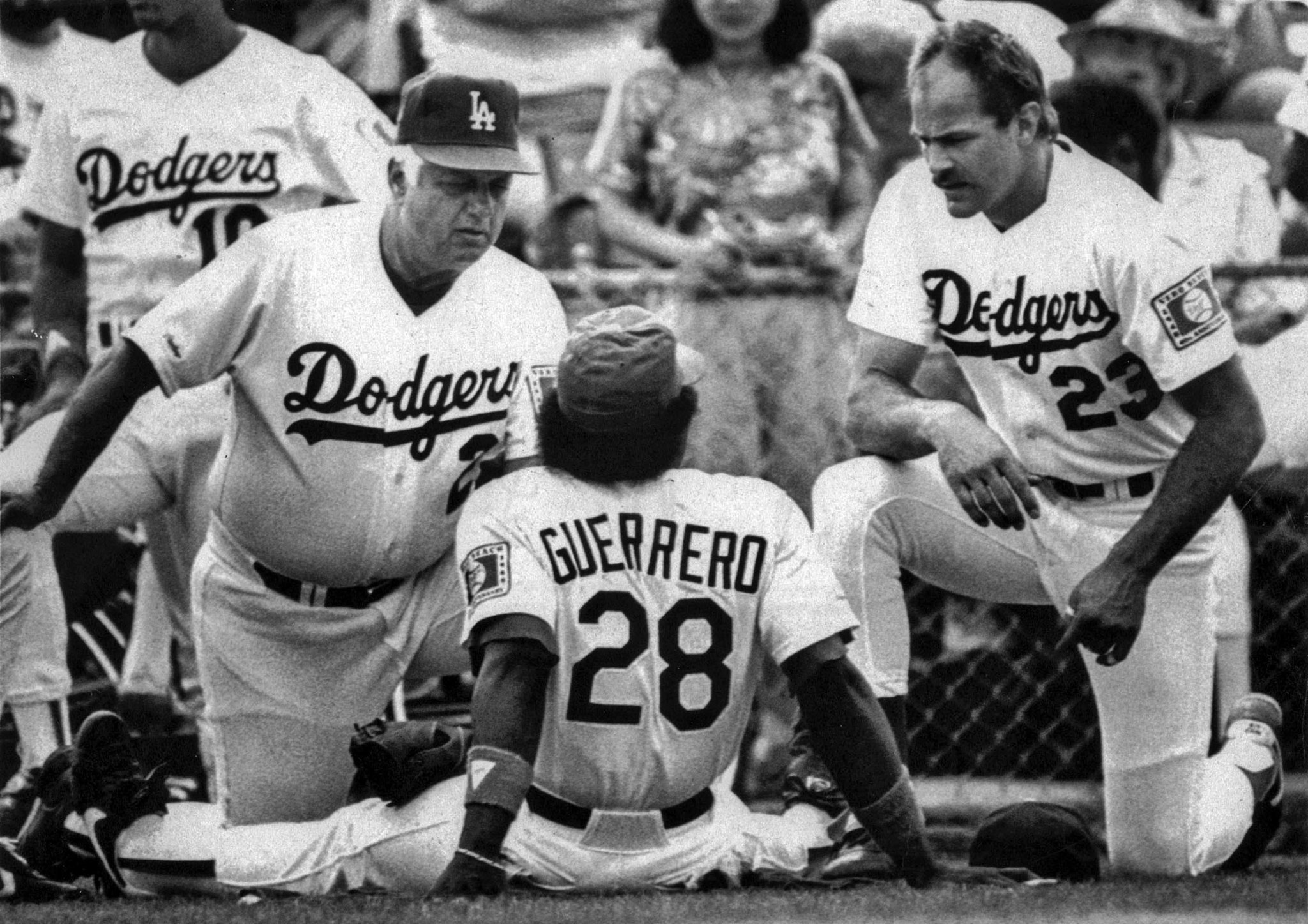 March 4, 1988: Tommy Lasorda, Pedro Guerrero and Kirk Gibson in Florida