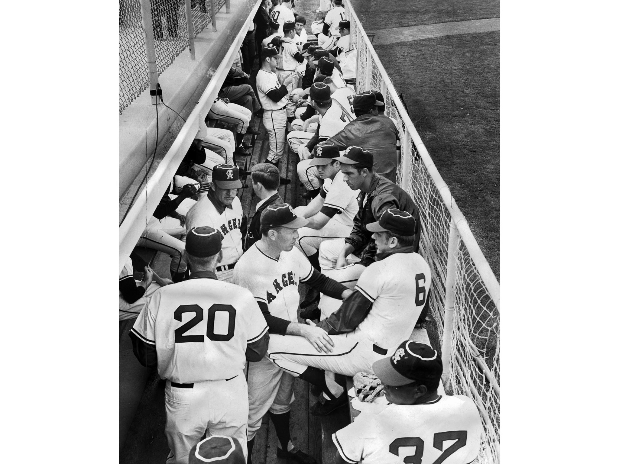 March 10, 1969: With 56 players in camp, the Angels dugout at Palm Springs gets jammed. This photo w