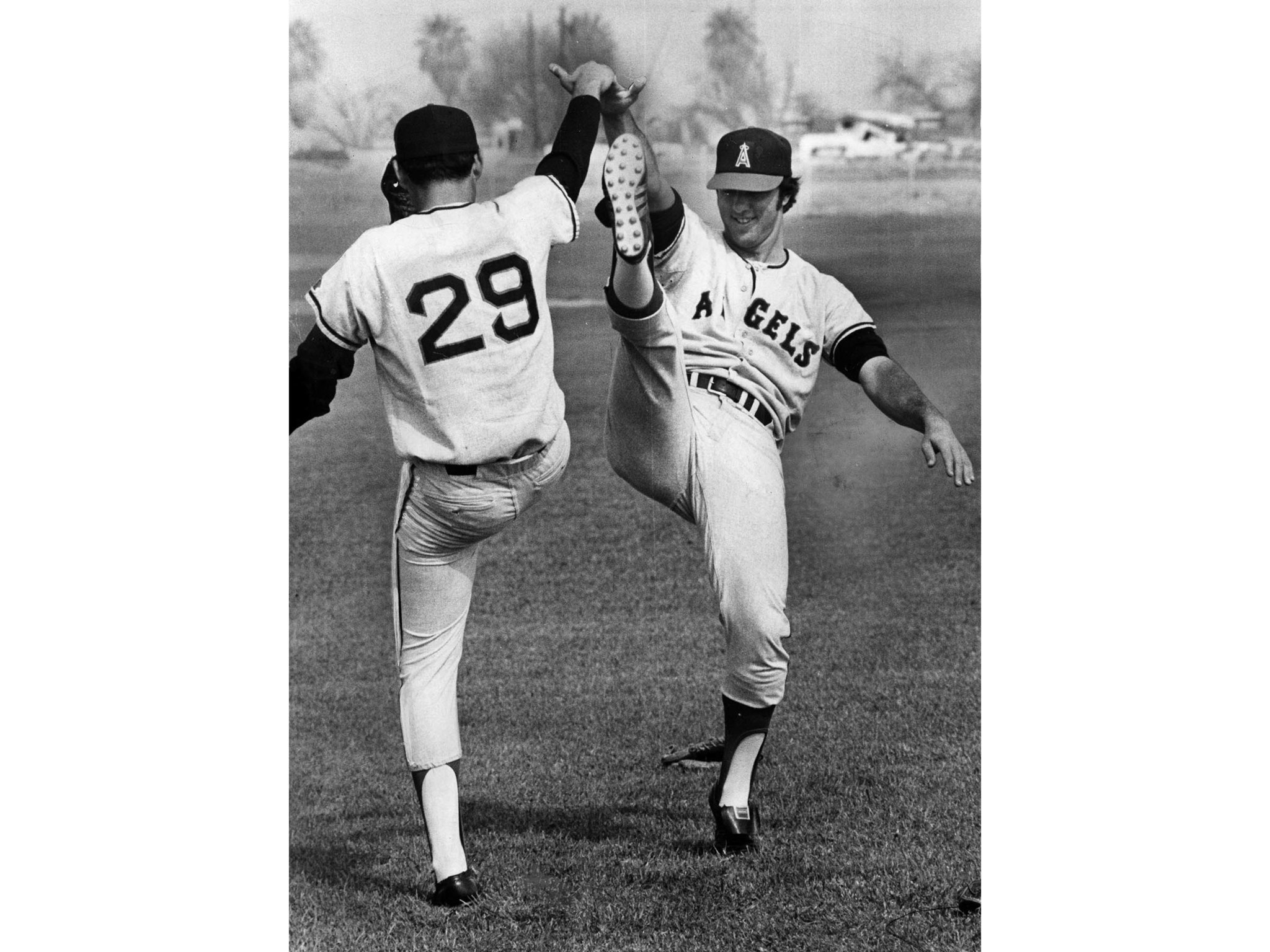 Feb. 27, 1973: Angels pitchers Sid Monge, left, and Clyde Wright use a high stepping exercise during
