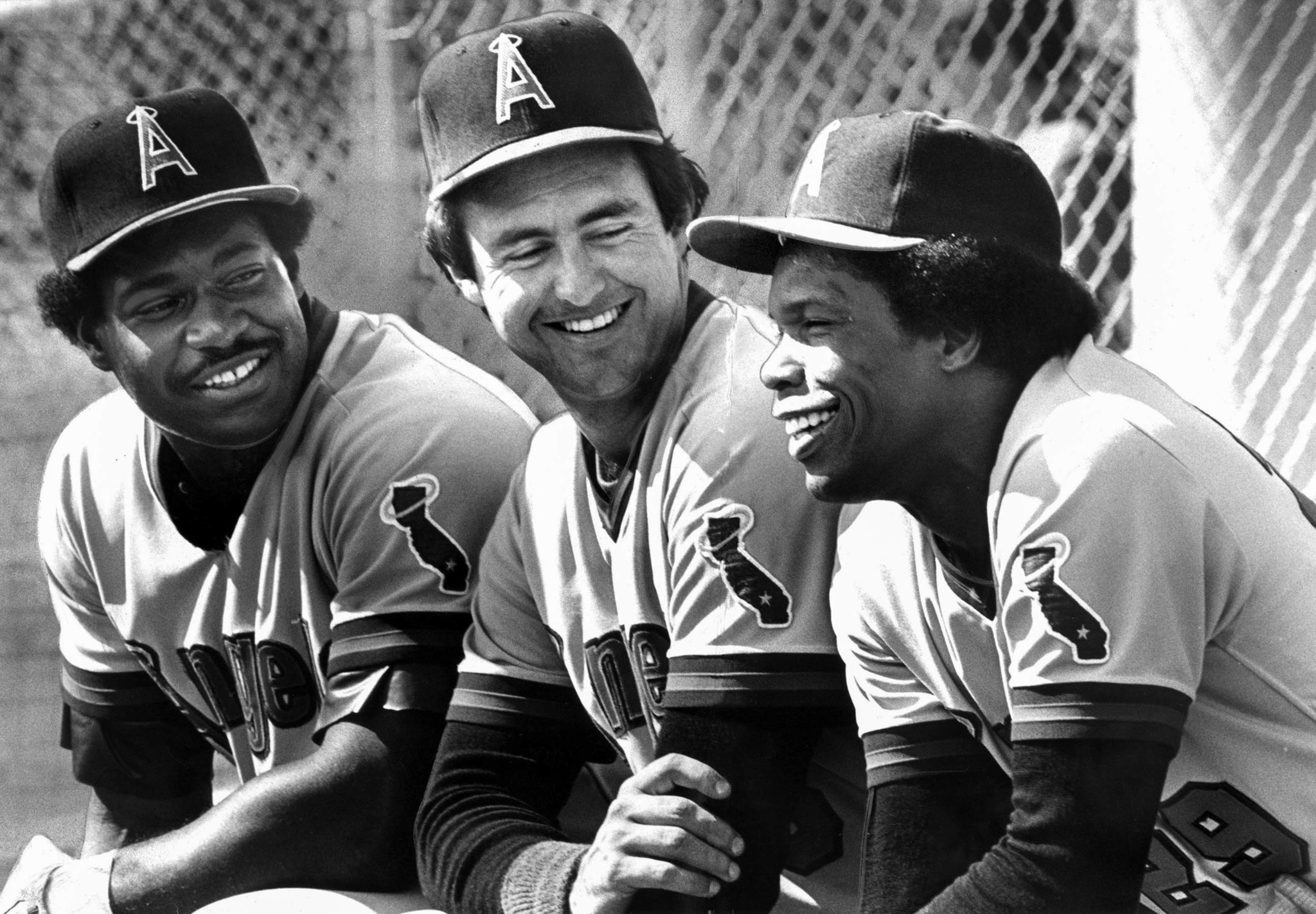 March 4, 1981: Million-dollar Angels from left: Don Baylor, Fred Lynn and Rod Carew have a few laugh